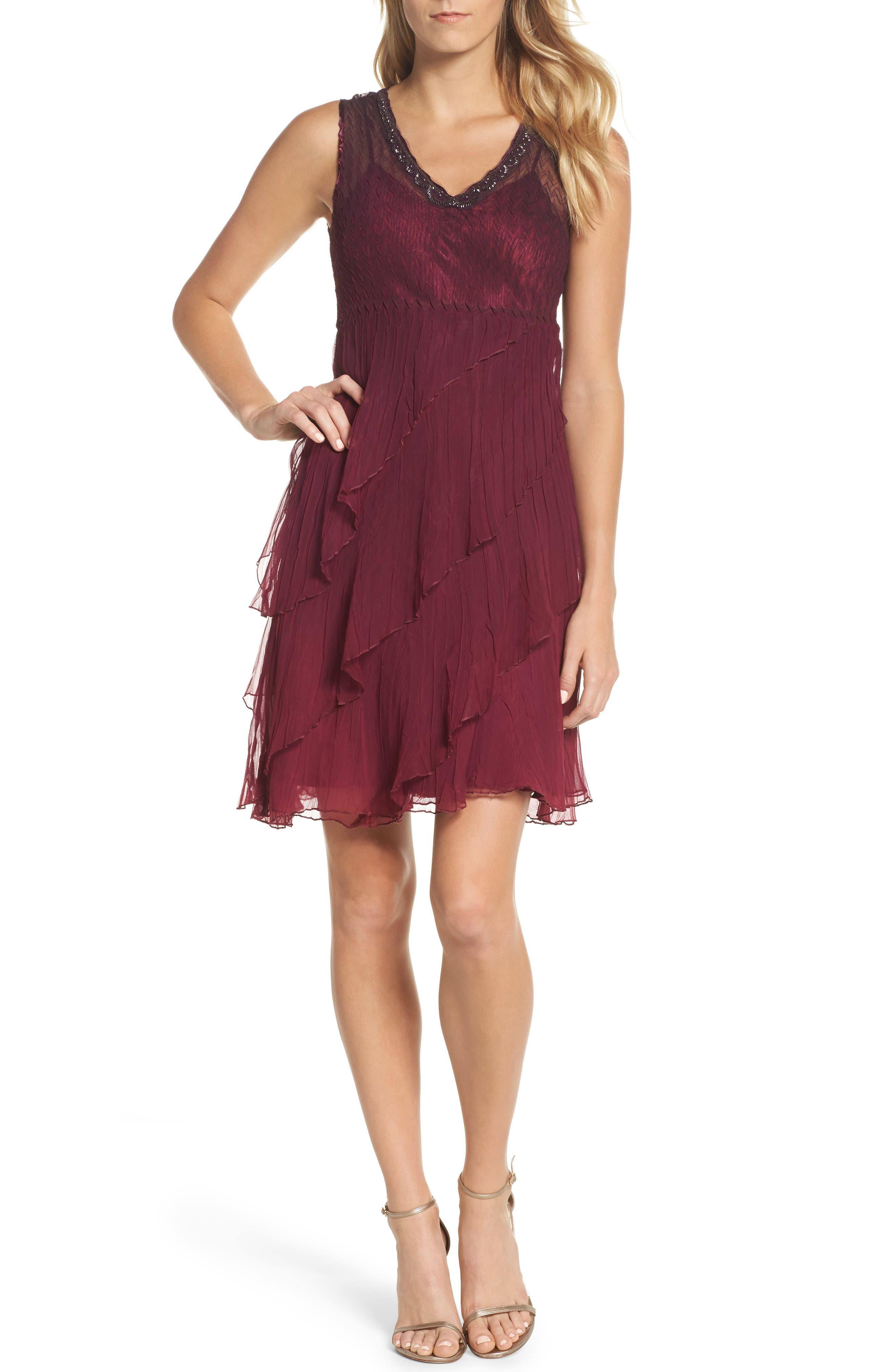Alternate Image 5  - Komarov Tiered A-Line Dress with Shawl (Regular & Petite)