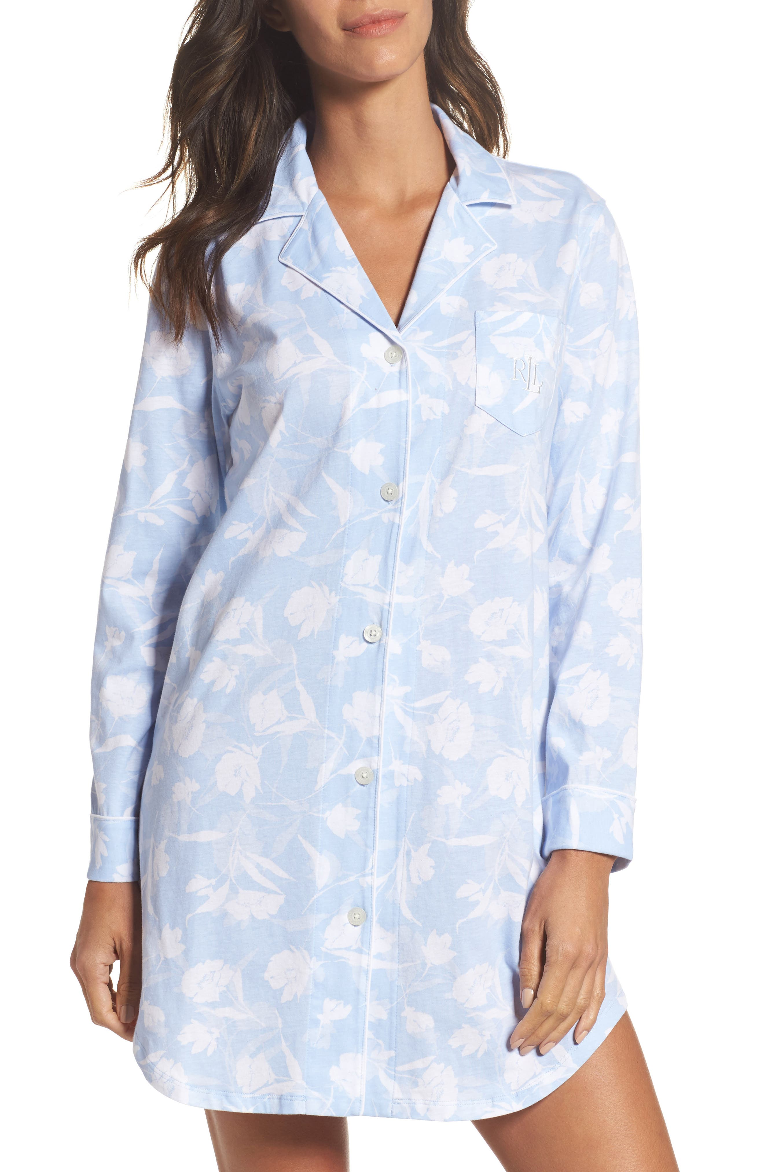 Notch Collar Sleep Shirt,                             Main thumbnail 1, color,                             Pale Blue Monotone Floral