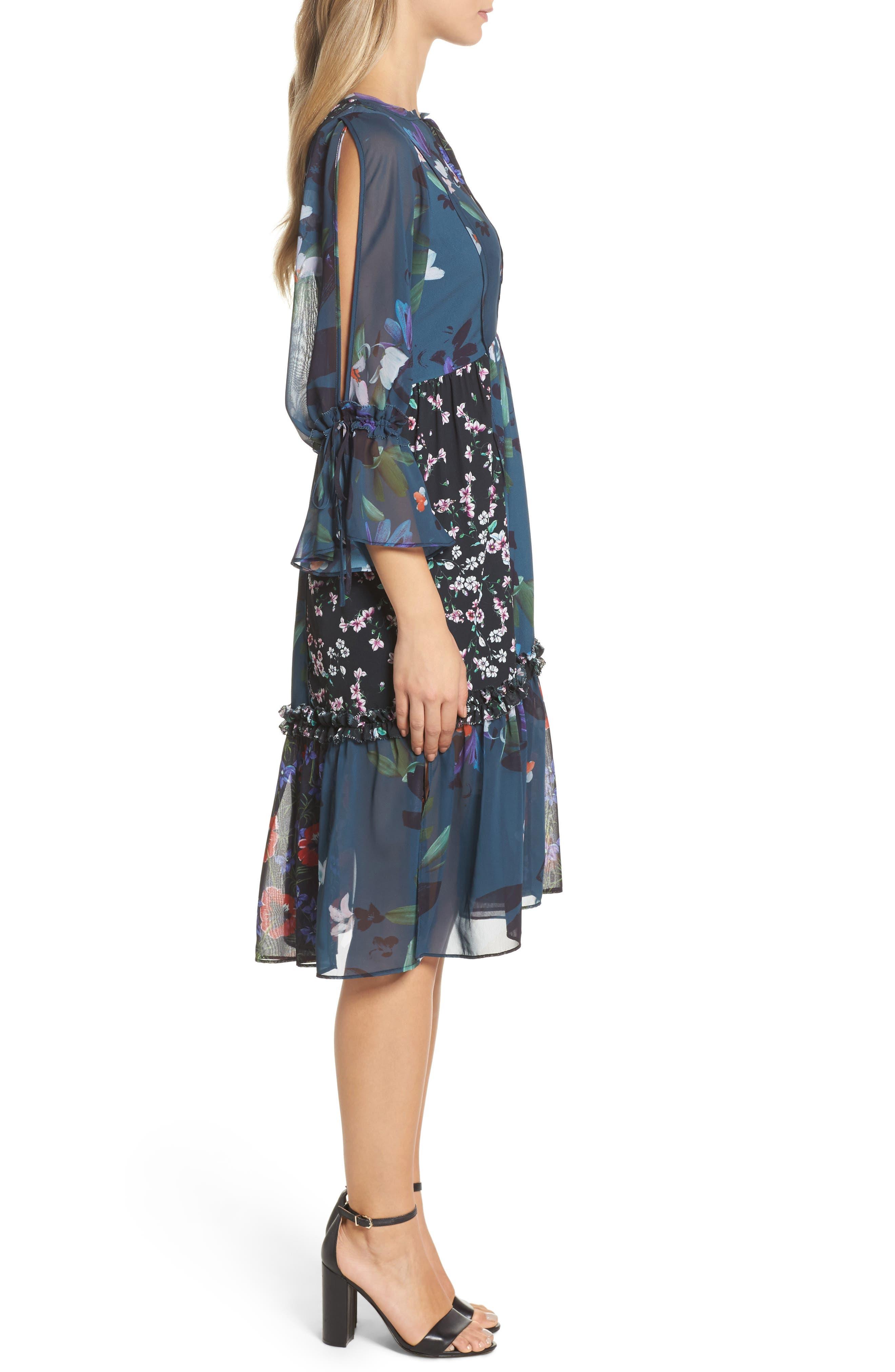 Celia Midi Dress,                             Alternate thumbnail 3, color,                             Deep Teal Multi
