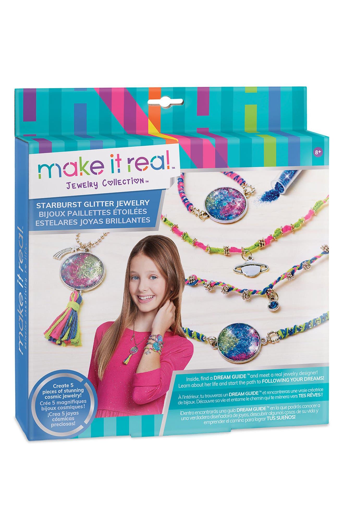 Starburst Glitter Jewelry Kit,                             Main thumbnail 1, color,                             Multi
