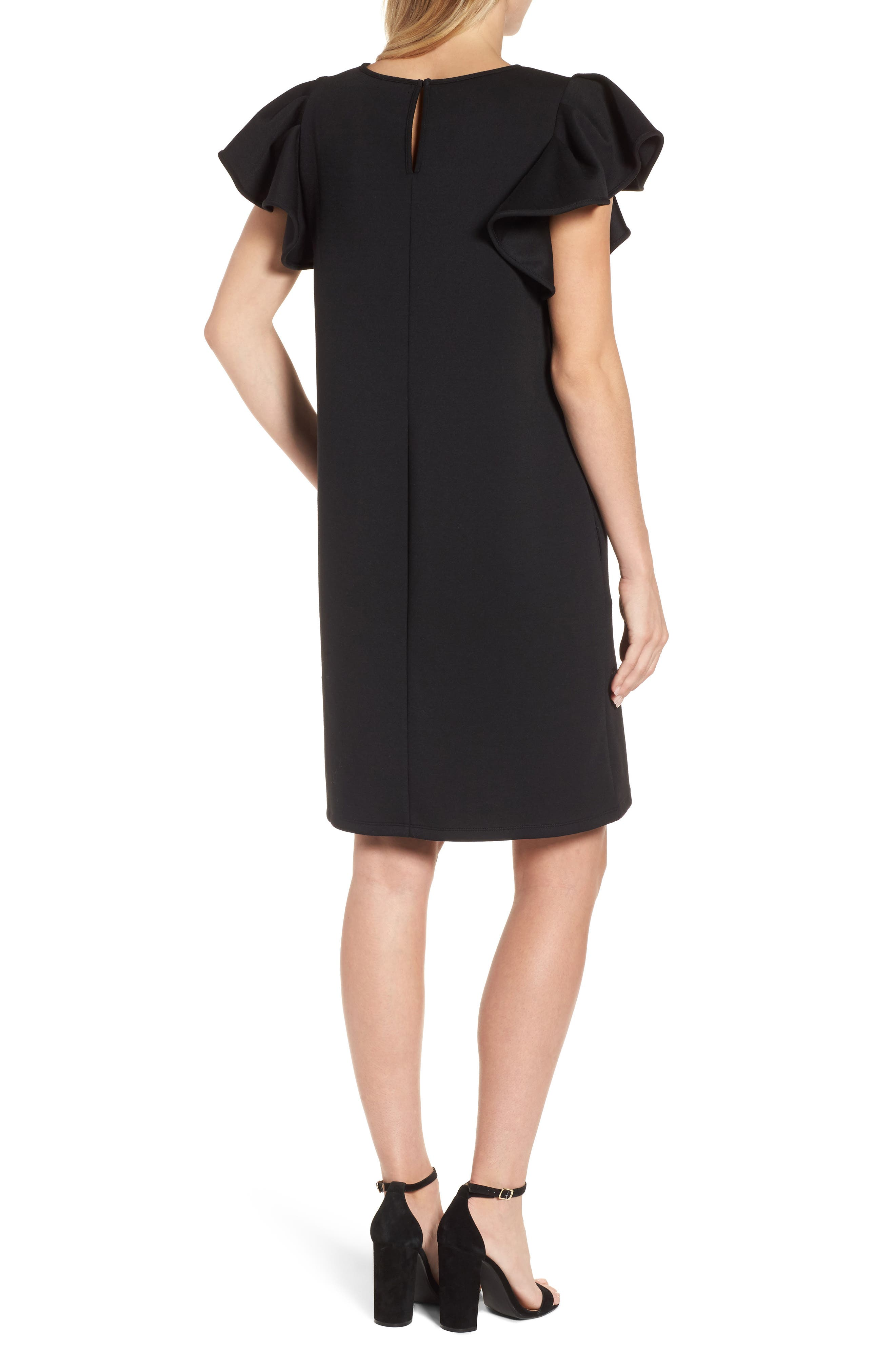Ruffle Sleeve Neoprene Shift Dress,                             Alternate thumbnail 2, color,                             Black