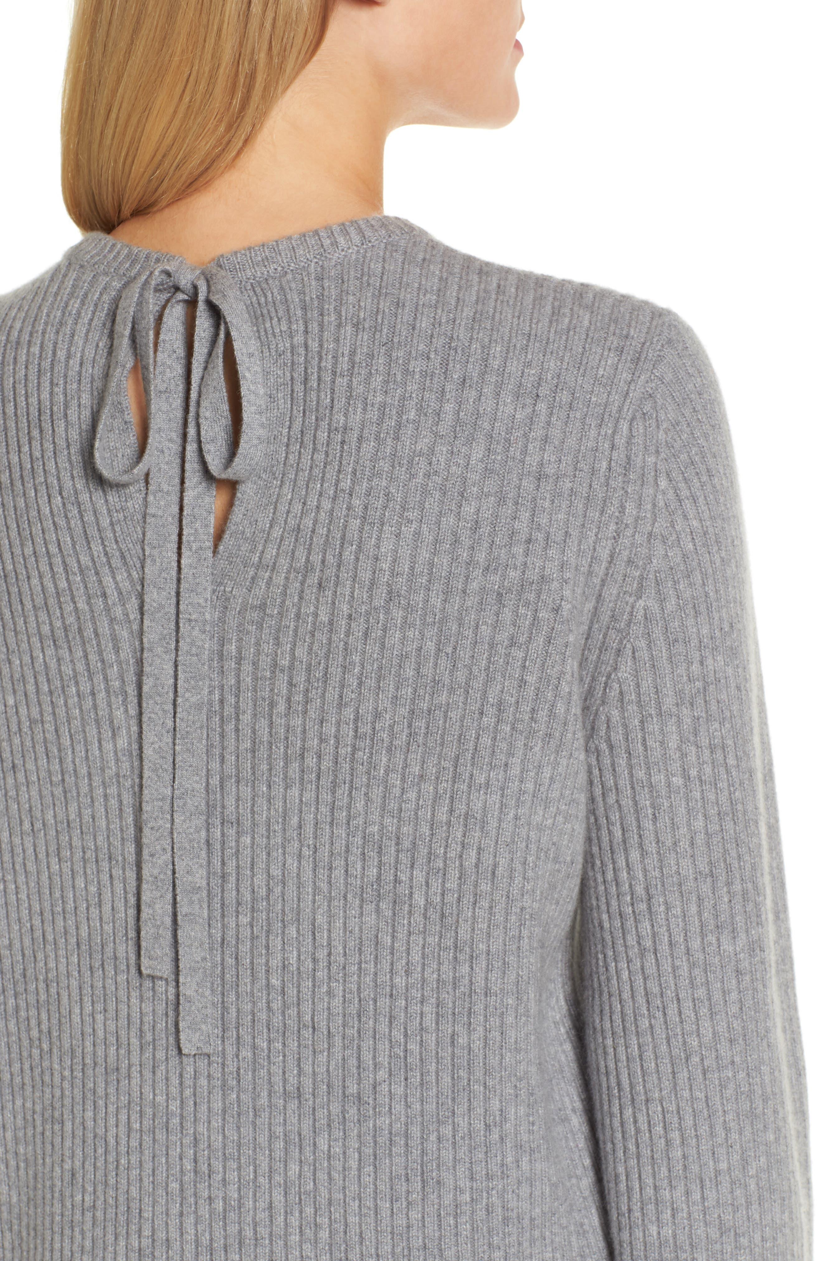 Tie Back Cashmere Blend Sweater,                             Alternate thumbnail 4, color,                             Grey Filigree Heather
