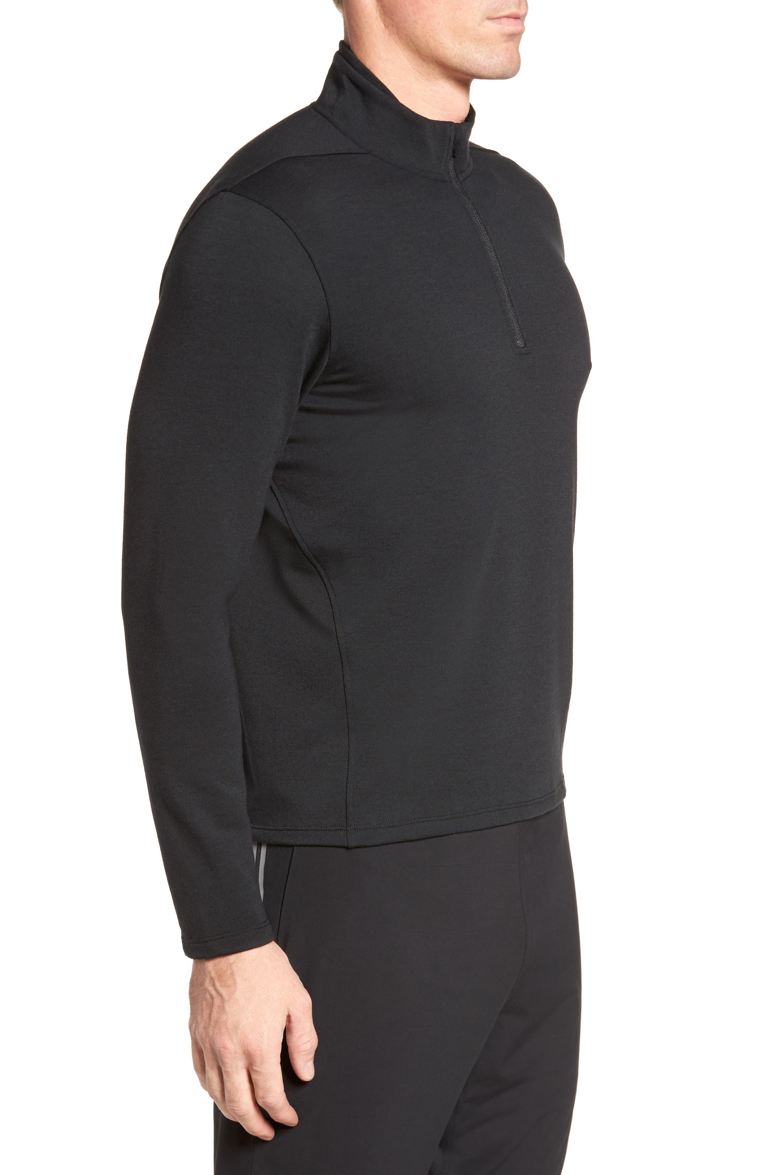 Distance Quarter Zip Pullover,                             Alternate thumbnail 3, color,                             Black