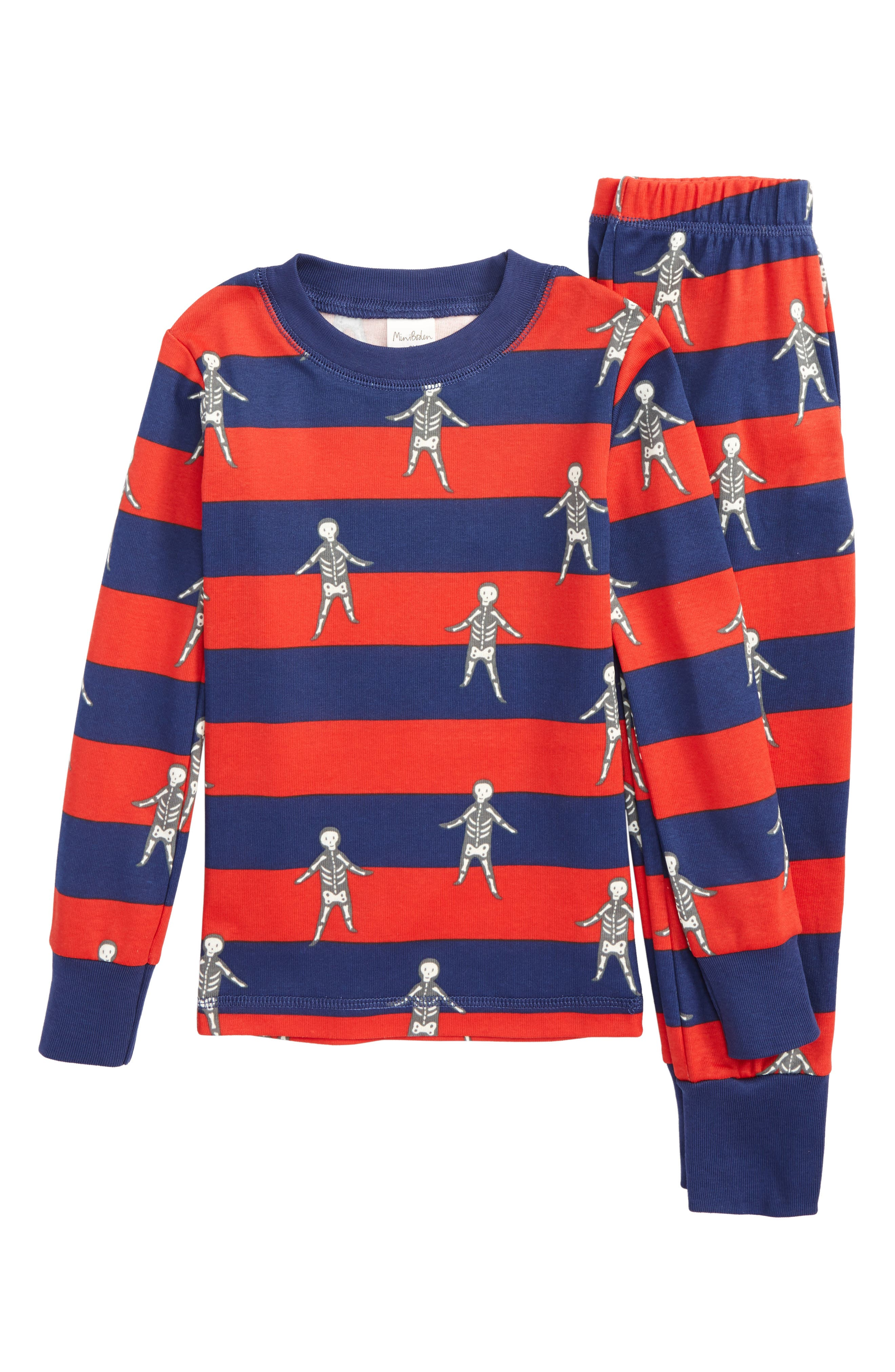 Glow in the Dark Fitted Two-Piece Pajamas,                         Main,                         color, Blue Beacon/ Ziggy Red