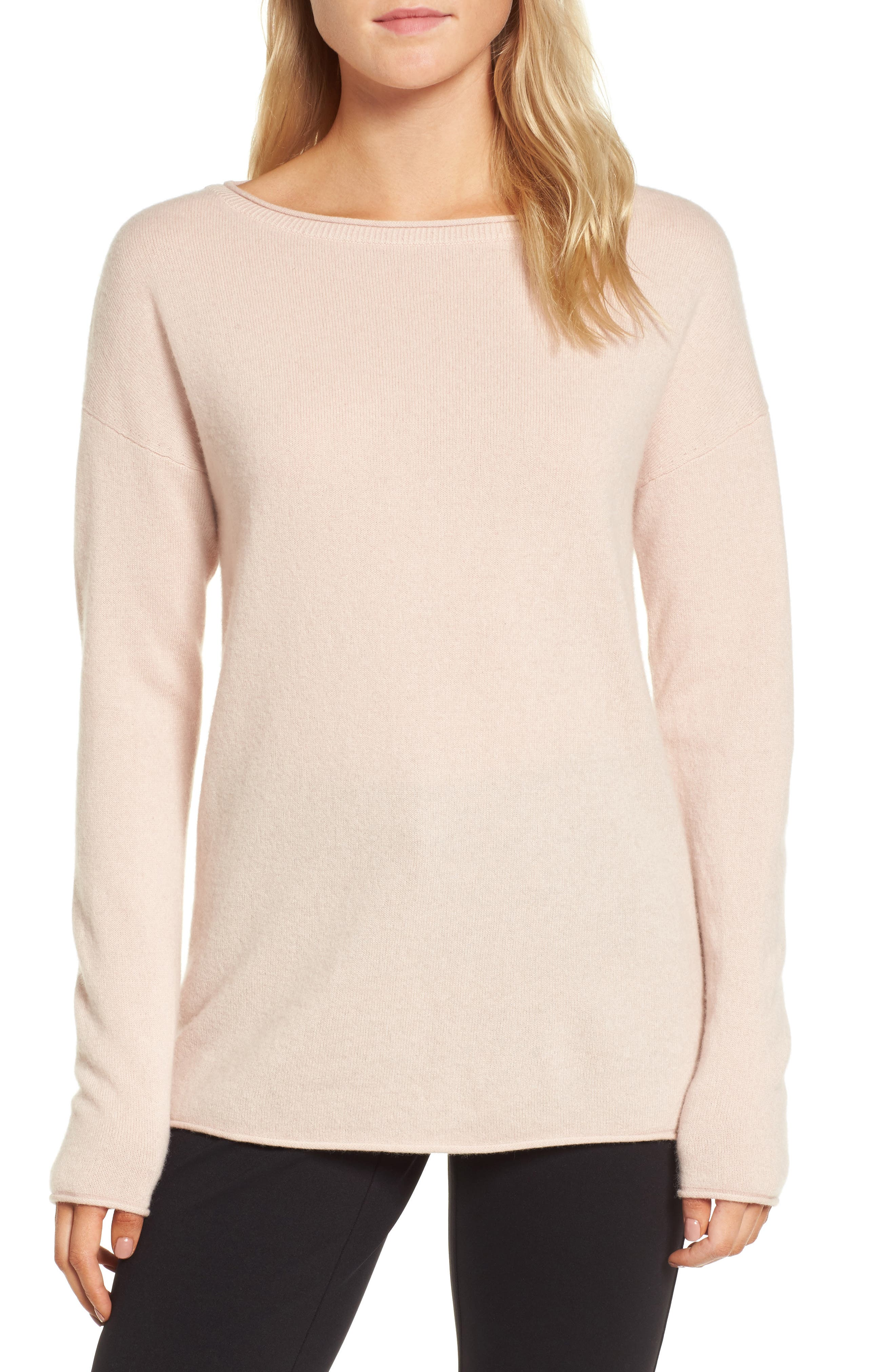 Boiled Cashmere Sweater,                             Main thumbnail 1, color,                             Pink Peach