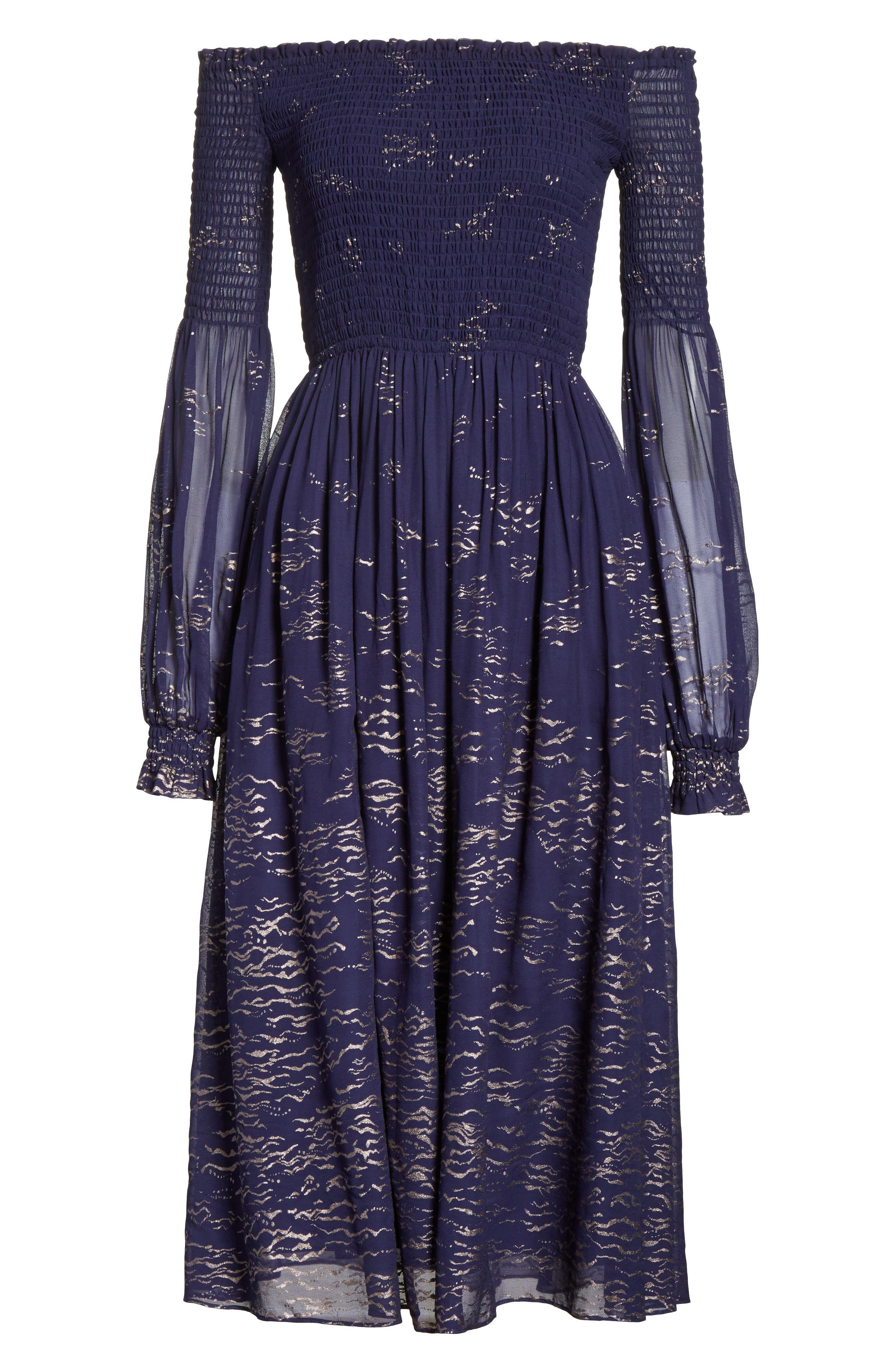 Foiled Smocked Midi Dress,                             Alternate thumbnail 6, color,                             Blue Combo