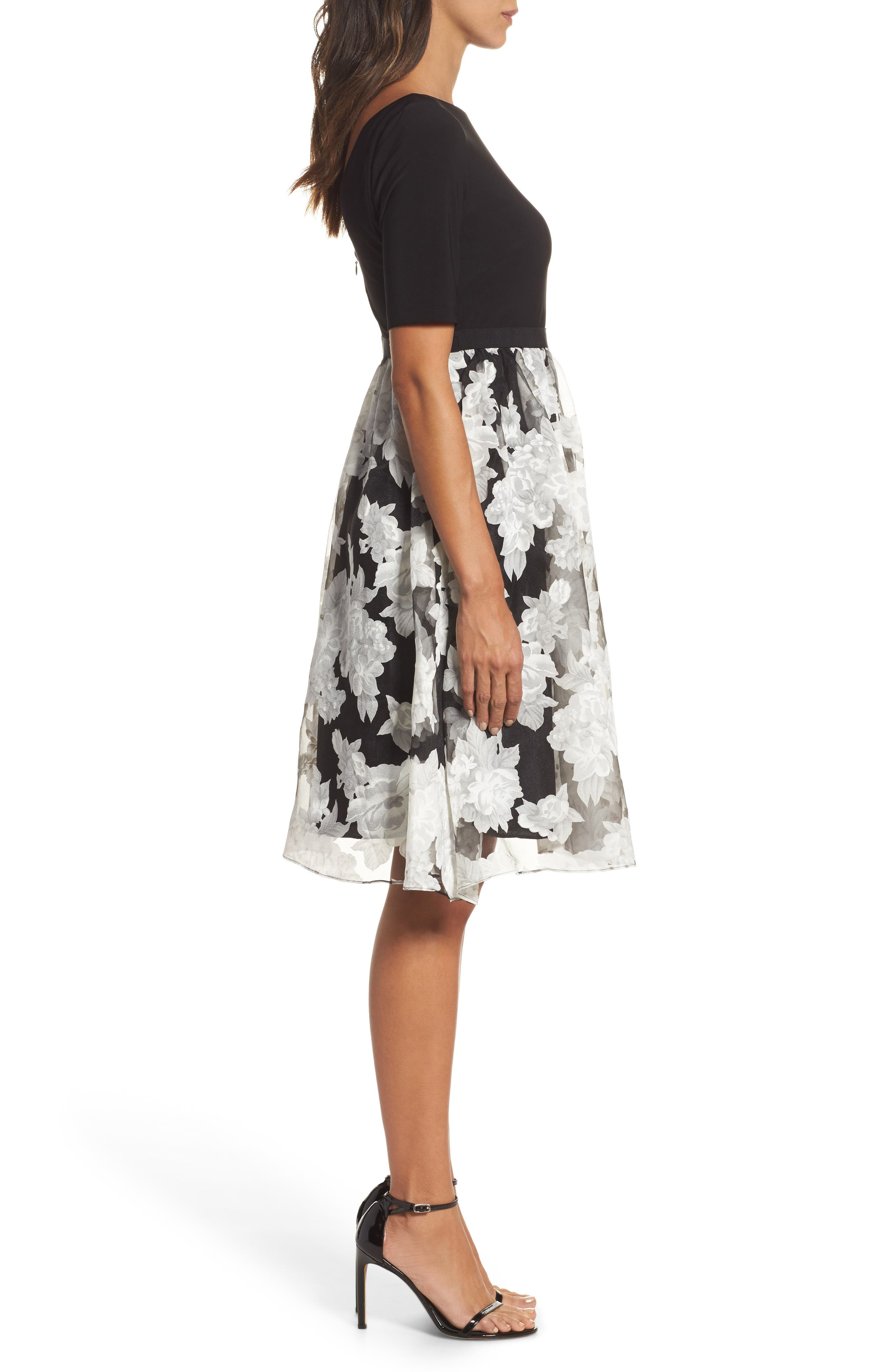 Print Organza Fit & Flare Dress,                             Alternate thumbnail 3, color,                             Black/ Ivory