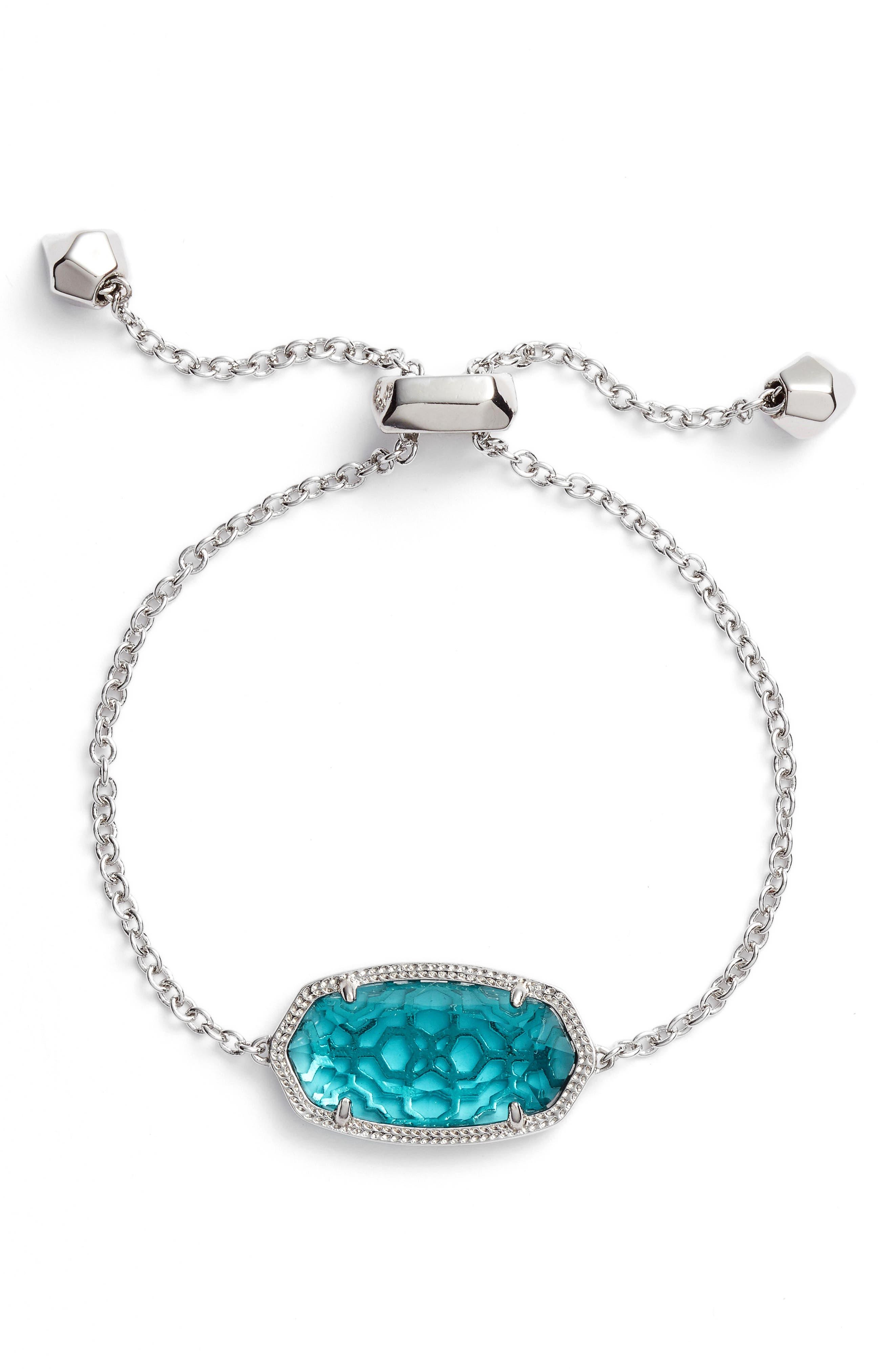 Daisy Station Bracelet,                             Main thumbnail 1, color,                             London Blue/ Silver