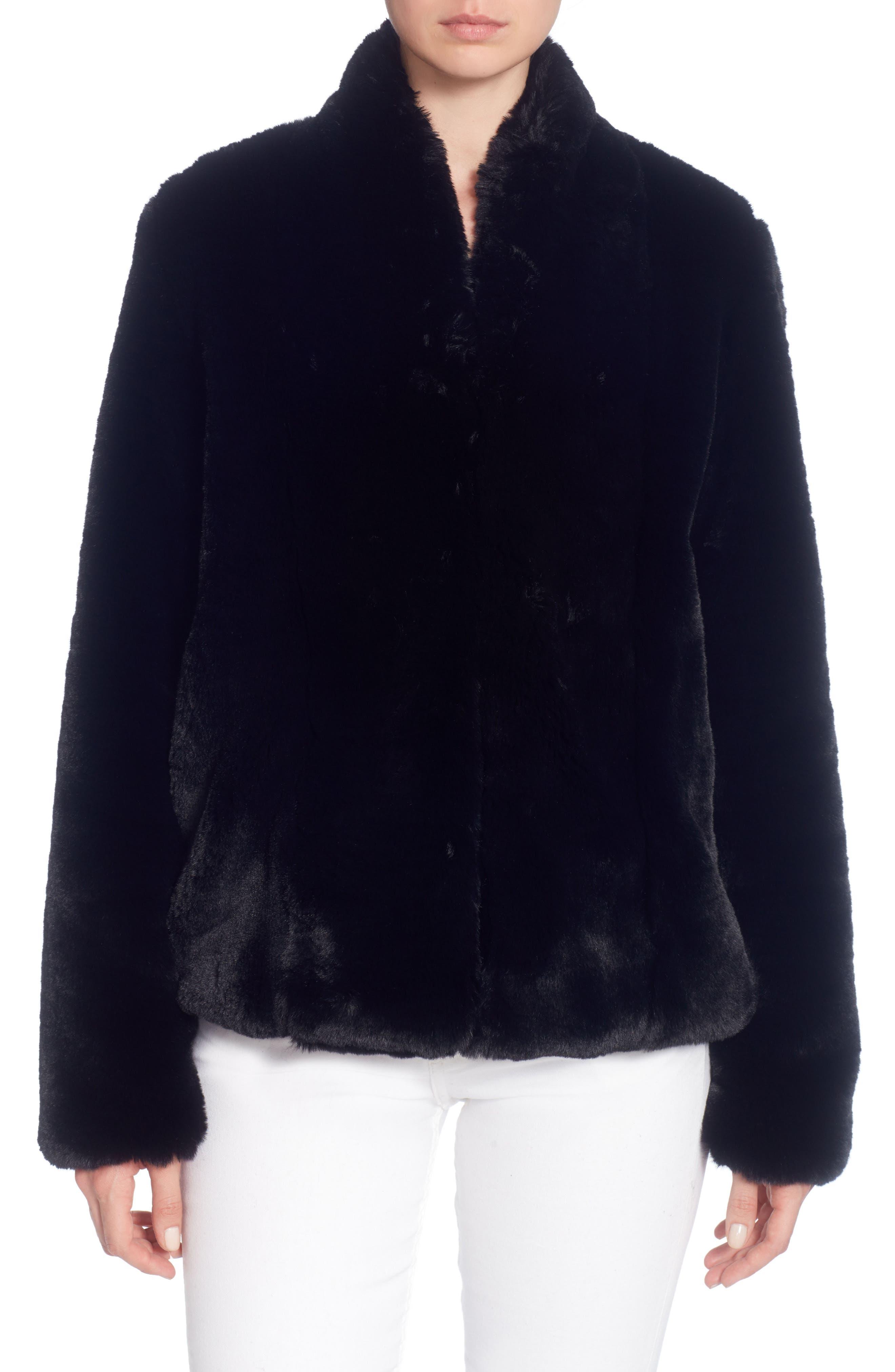 Faux Fur Jacket,                         Main,                         color, Black