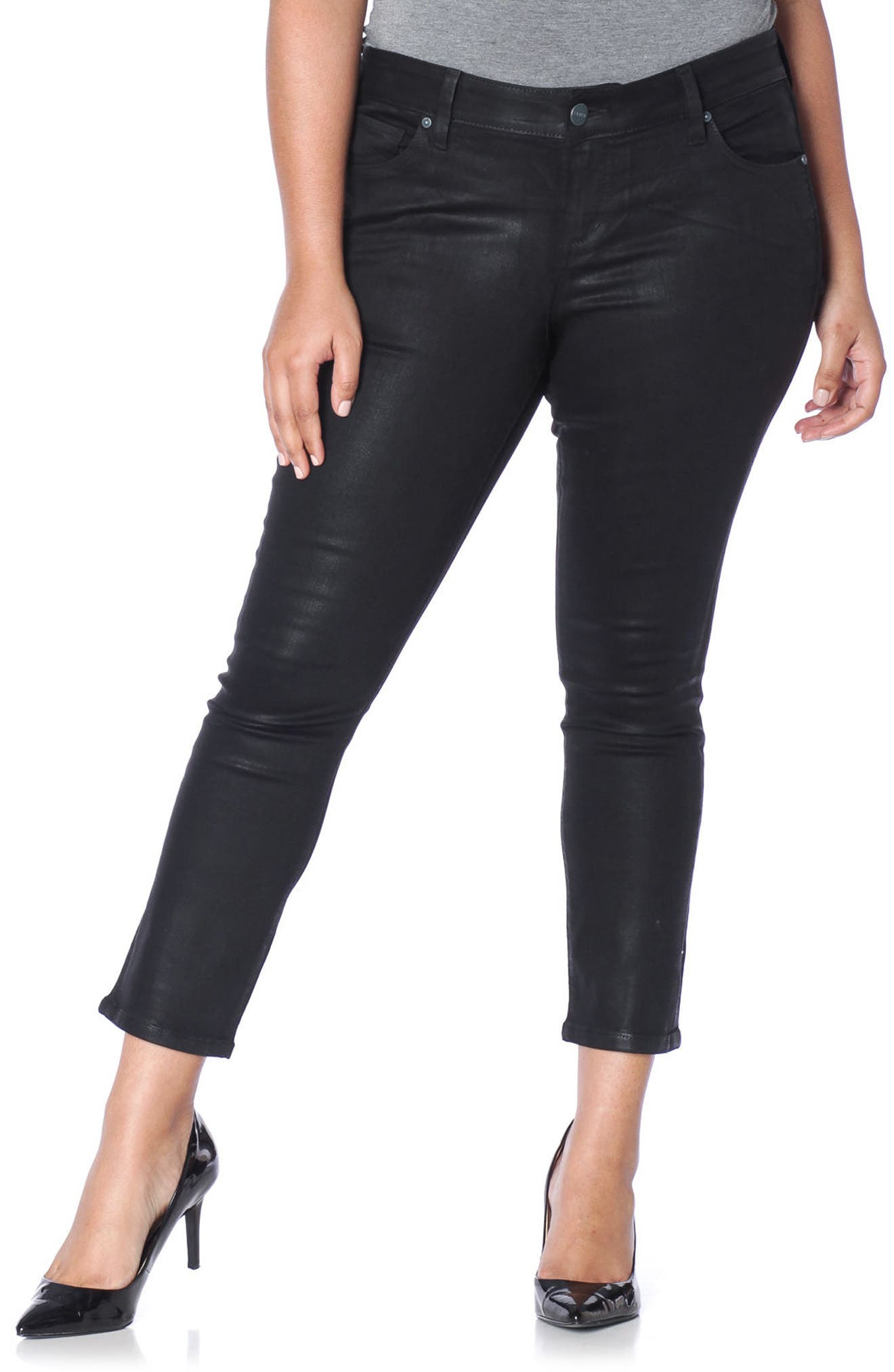 SLINK Jeans Coated Ankle Jeans (Plus Size)