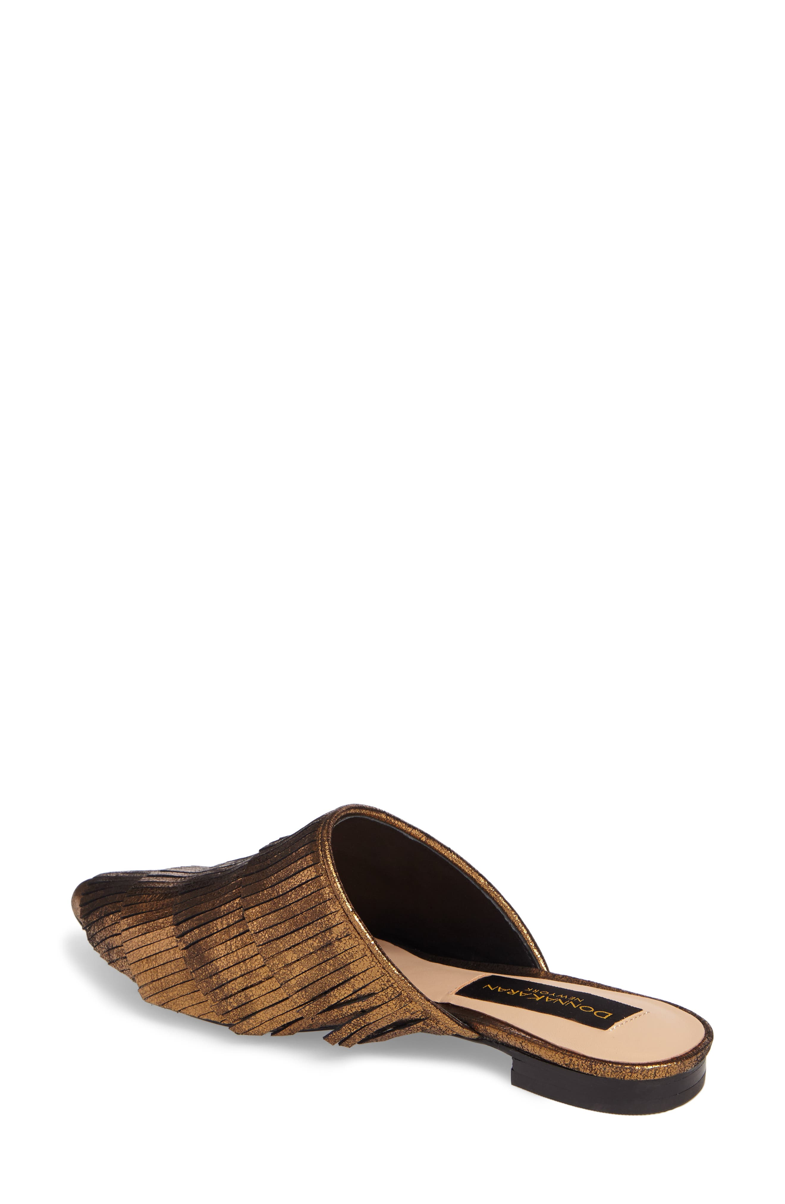 Donna Karan Paisley Fringe Mule,                             Alternate thumbnail 2, color,                             Brass Leather