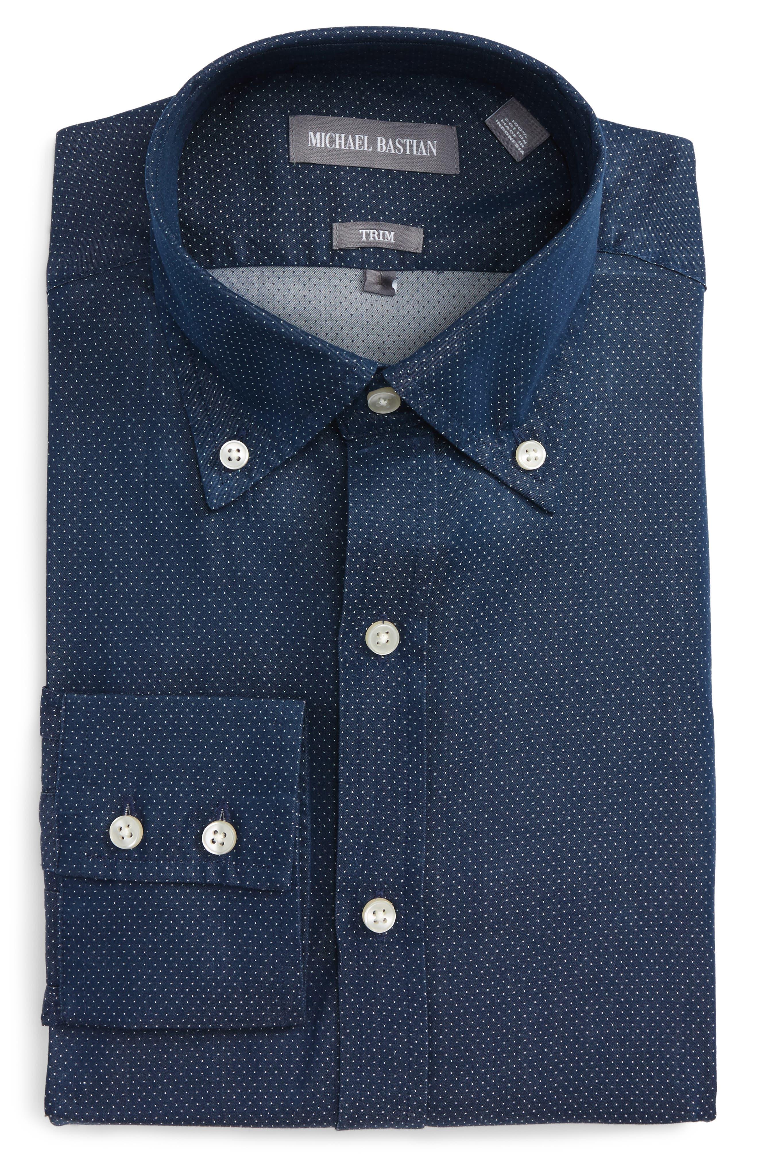 Michael Bastian Trim Fit Microdot Dress Shirt