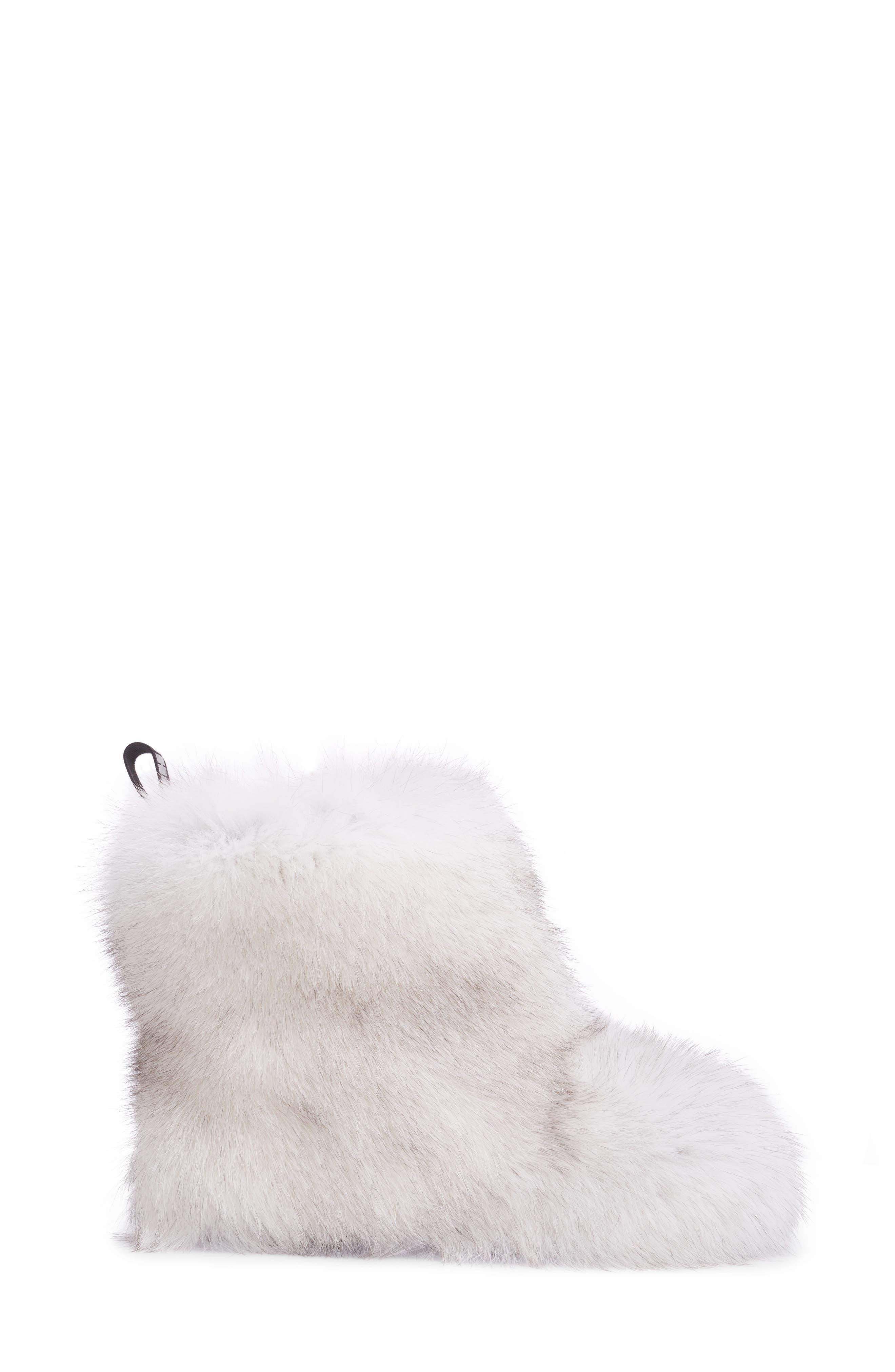 Dalton Genuine Fox & Rabbit Fur Bootie,                             Alternate thumbnail 3, color,                             White