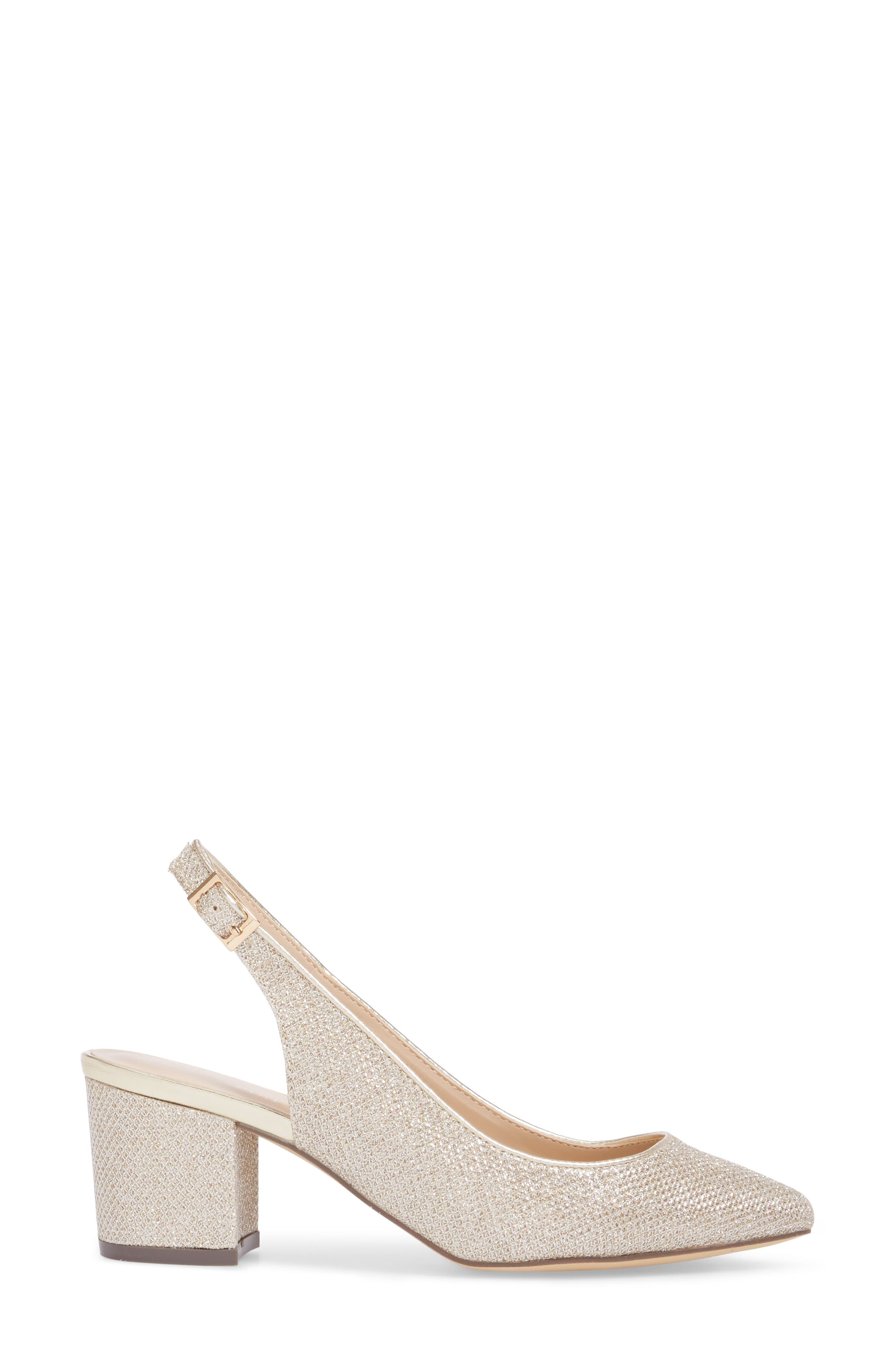 Aubree Slingback Pump,                             Alternate thumbnail 3, color,                             Champagne Glitter