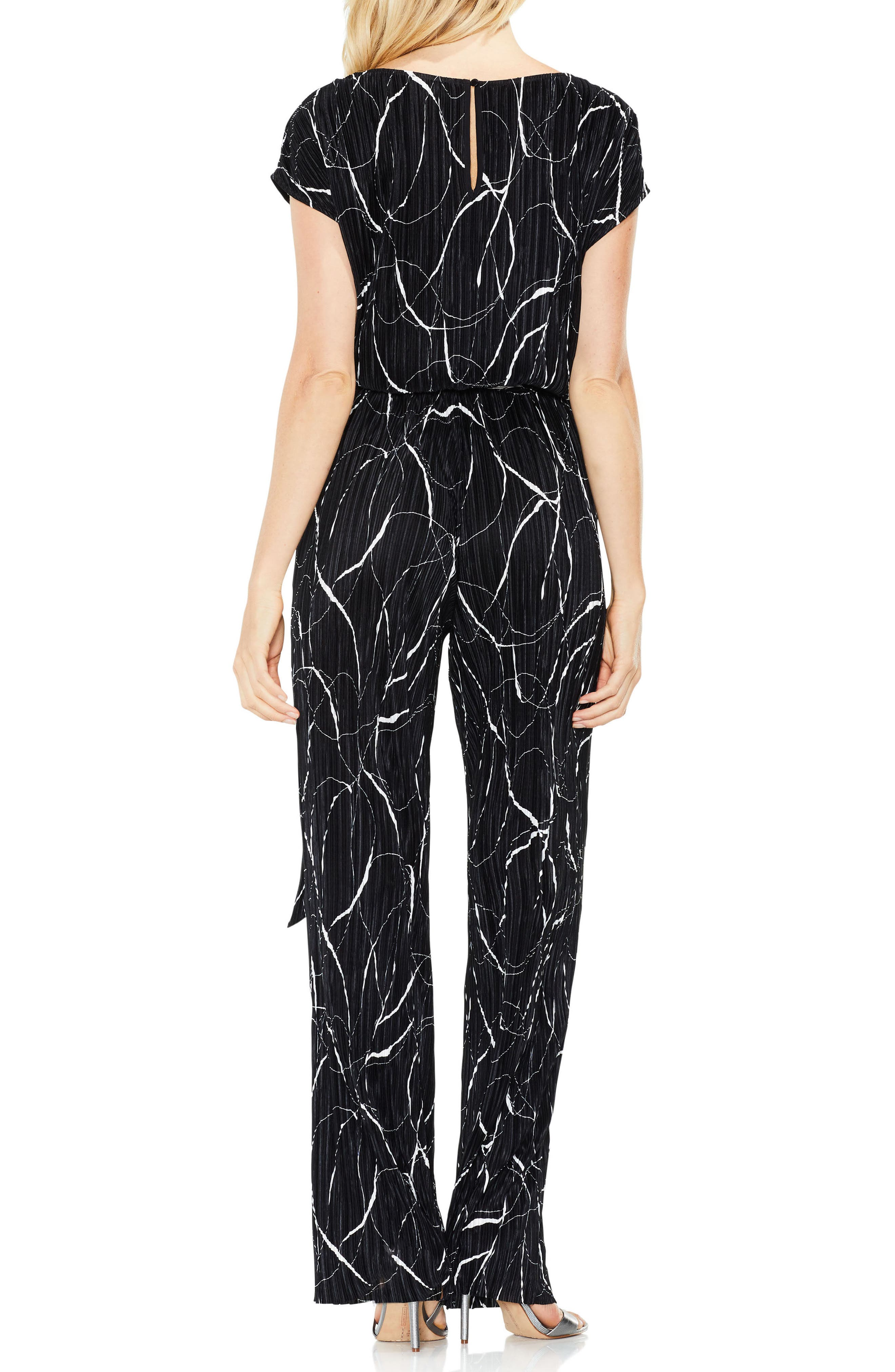 Ink Swirl Pleat Knit Jumpsuit,                             Alternate thumbnail 2, color,                             Rich Black