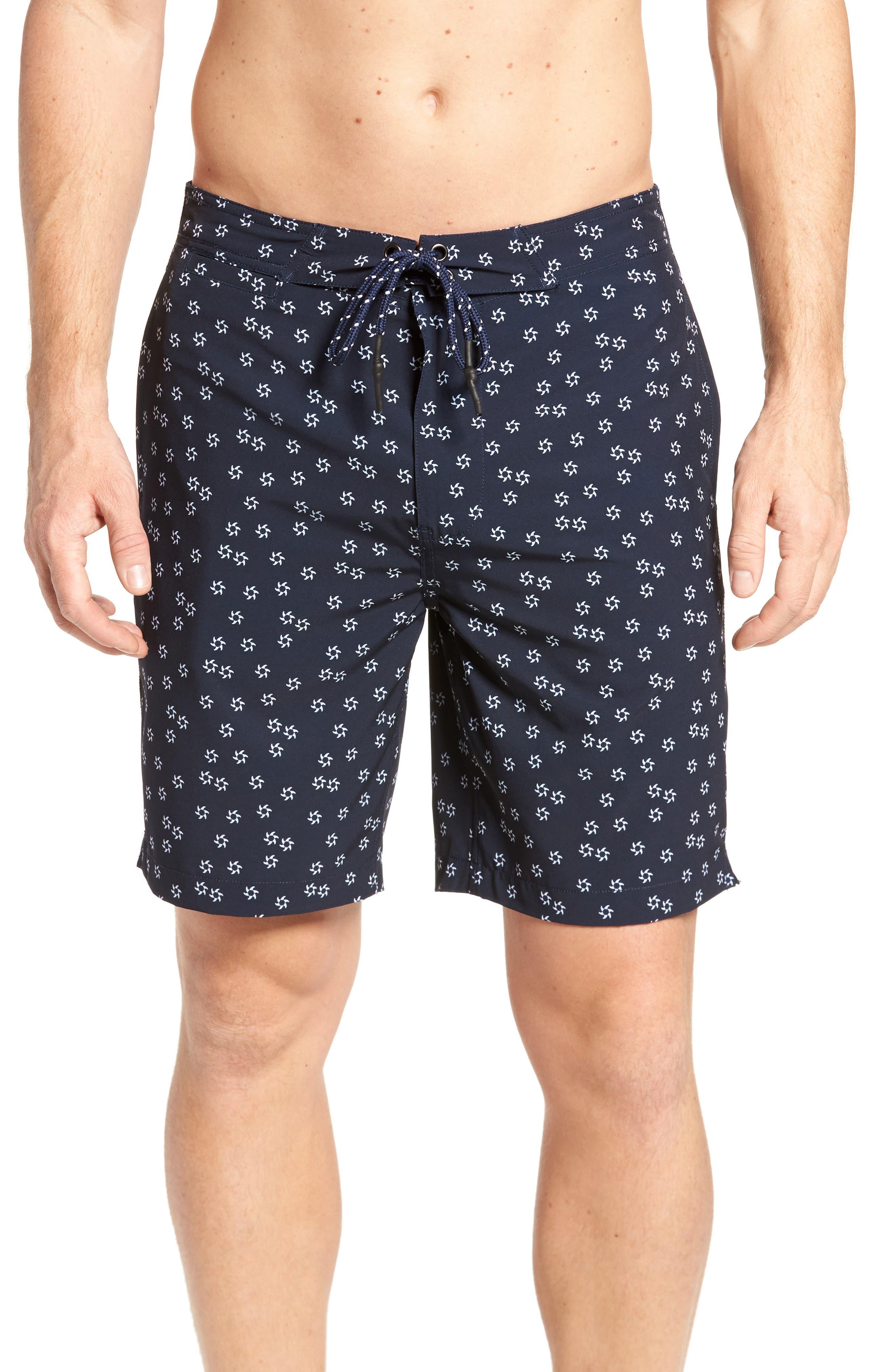 Fin Print Board Shorts,                         Main,                         color, Navy Blazer