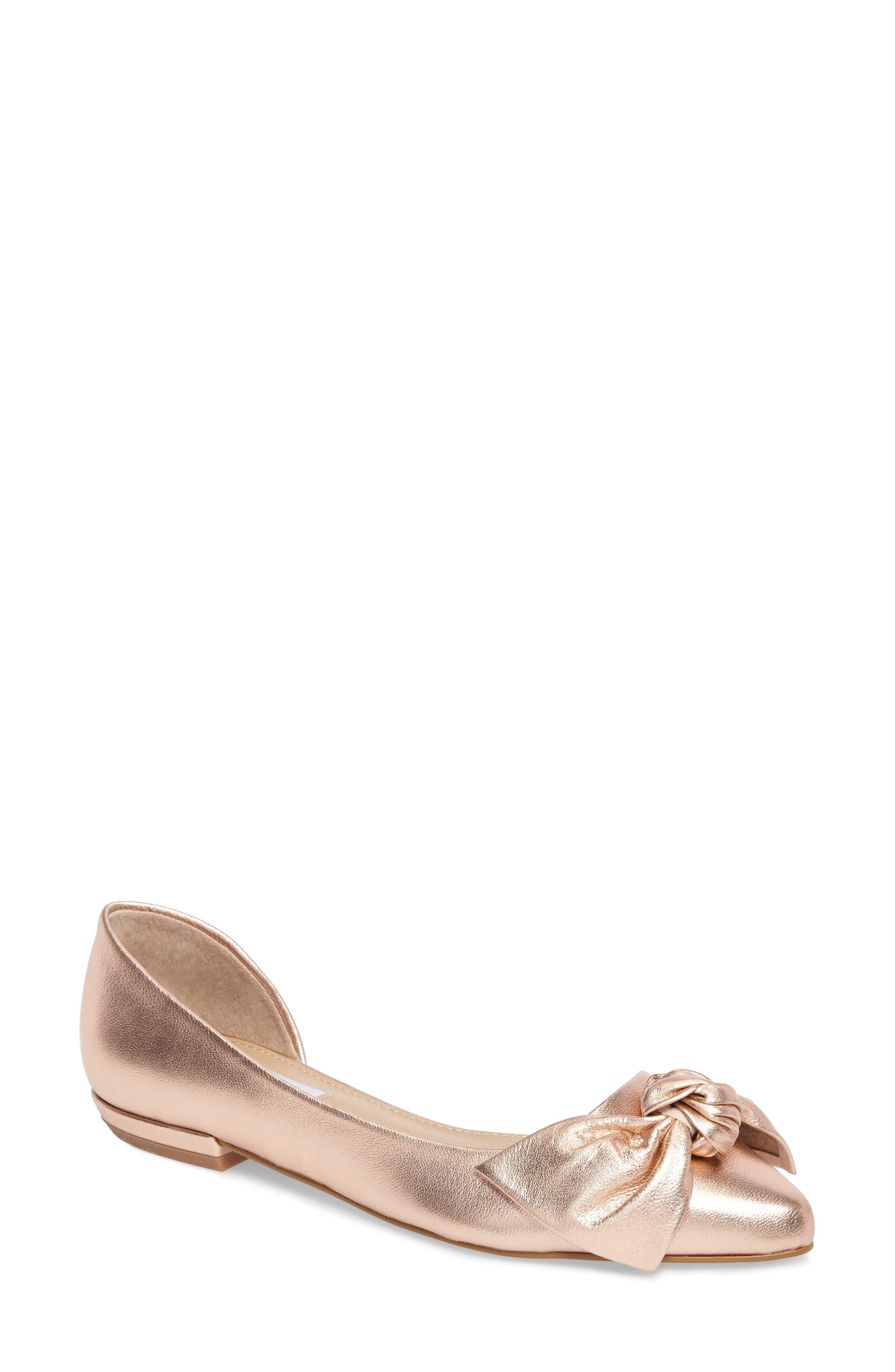 Edina d'Orsay Bow Flat,                             Main thumbnail 1, color,                             Rose Gold Leather