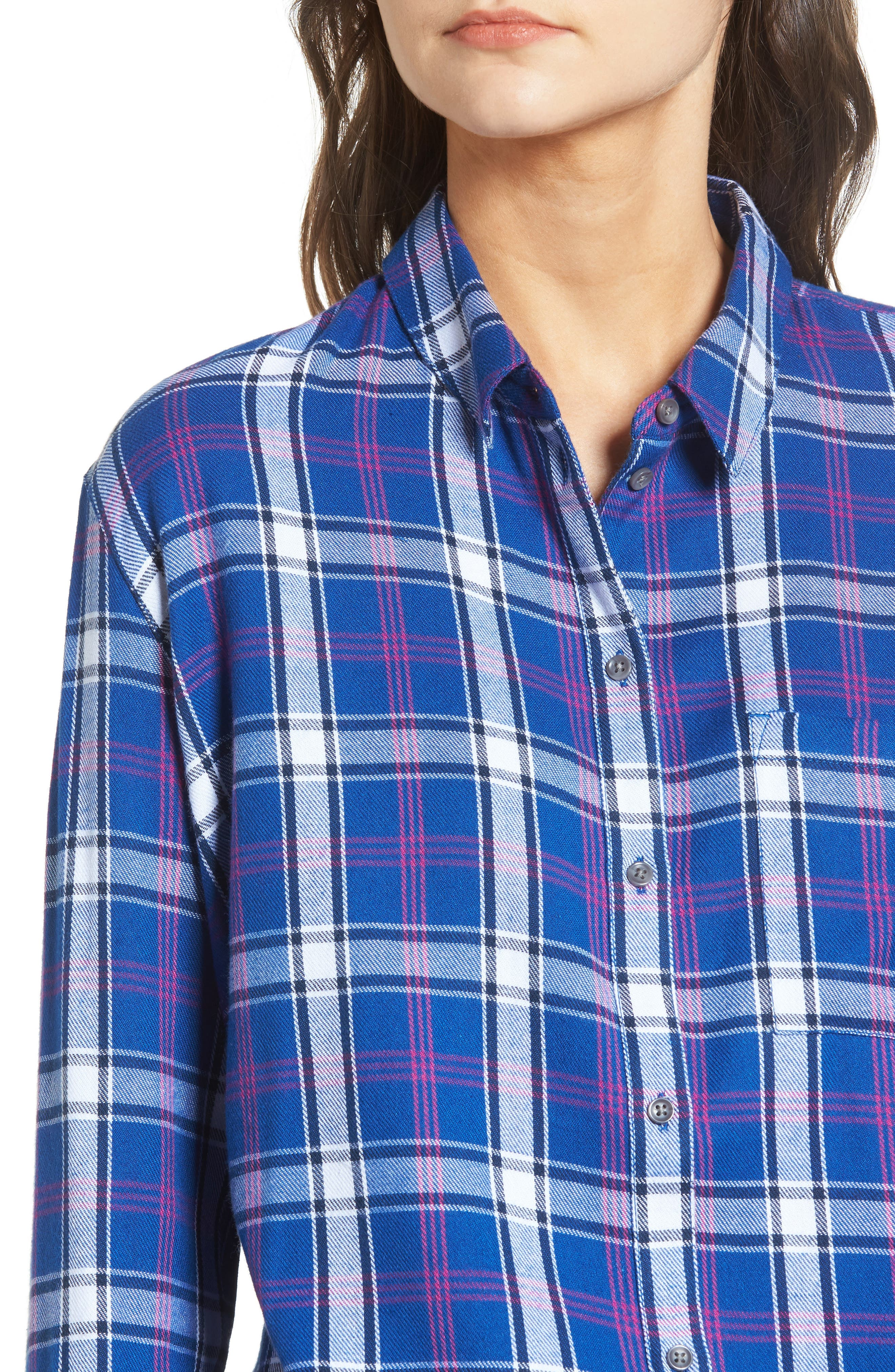 Tartan Boyfriend Shirt,                             Alternate thumbnail 4, color,                             Navy Limoges Weekend Tartan