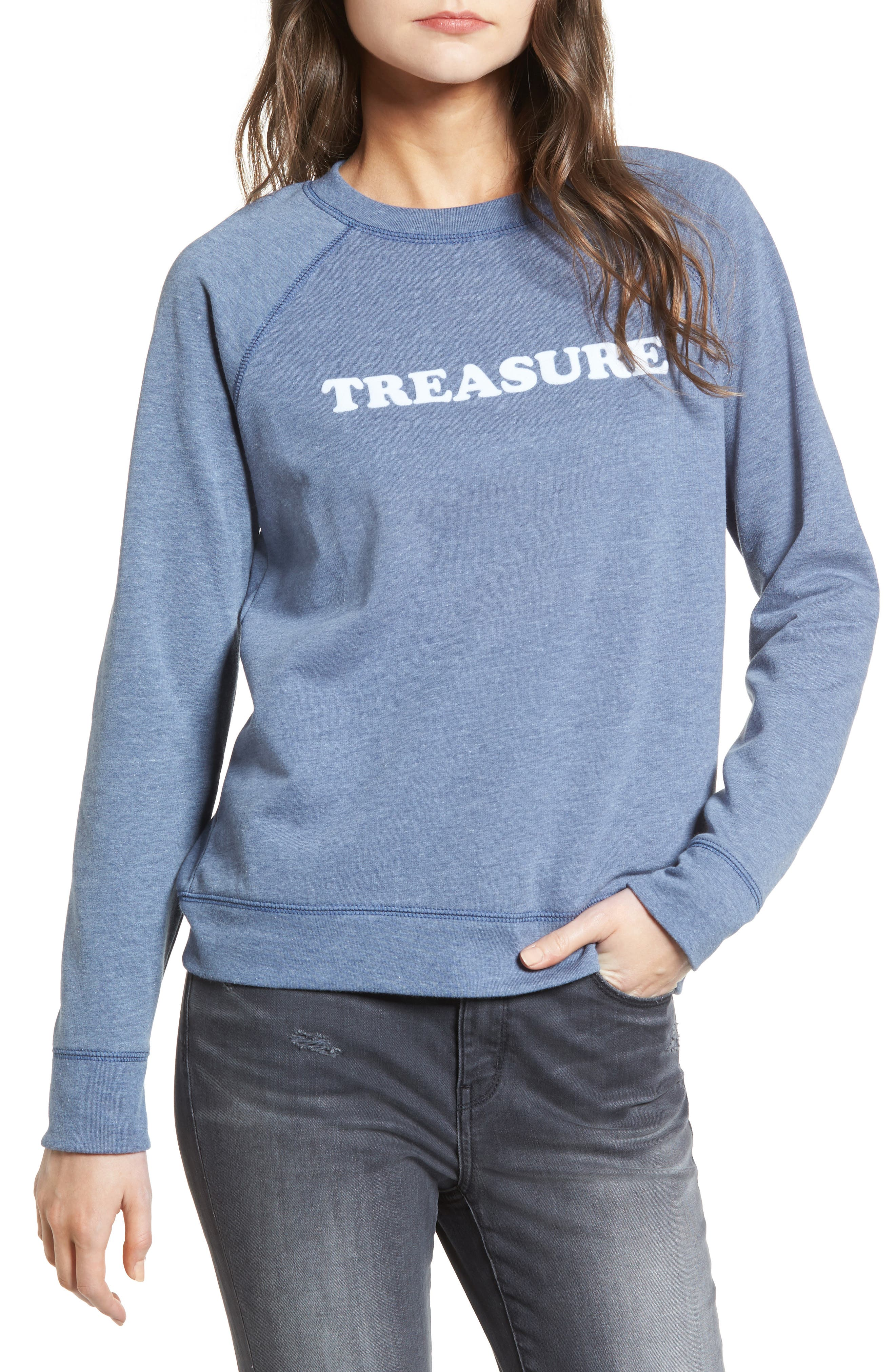Crewneck Sweatshirt,                             Main thumbnail 1, color,                             Blue Insignia Treasure