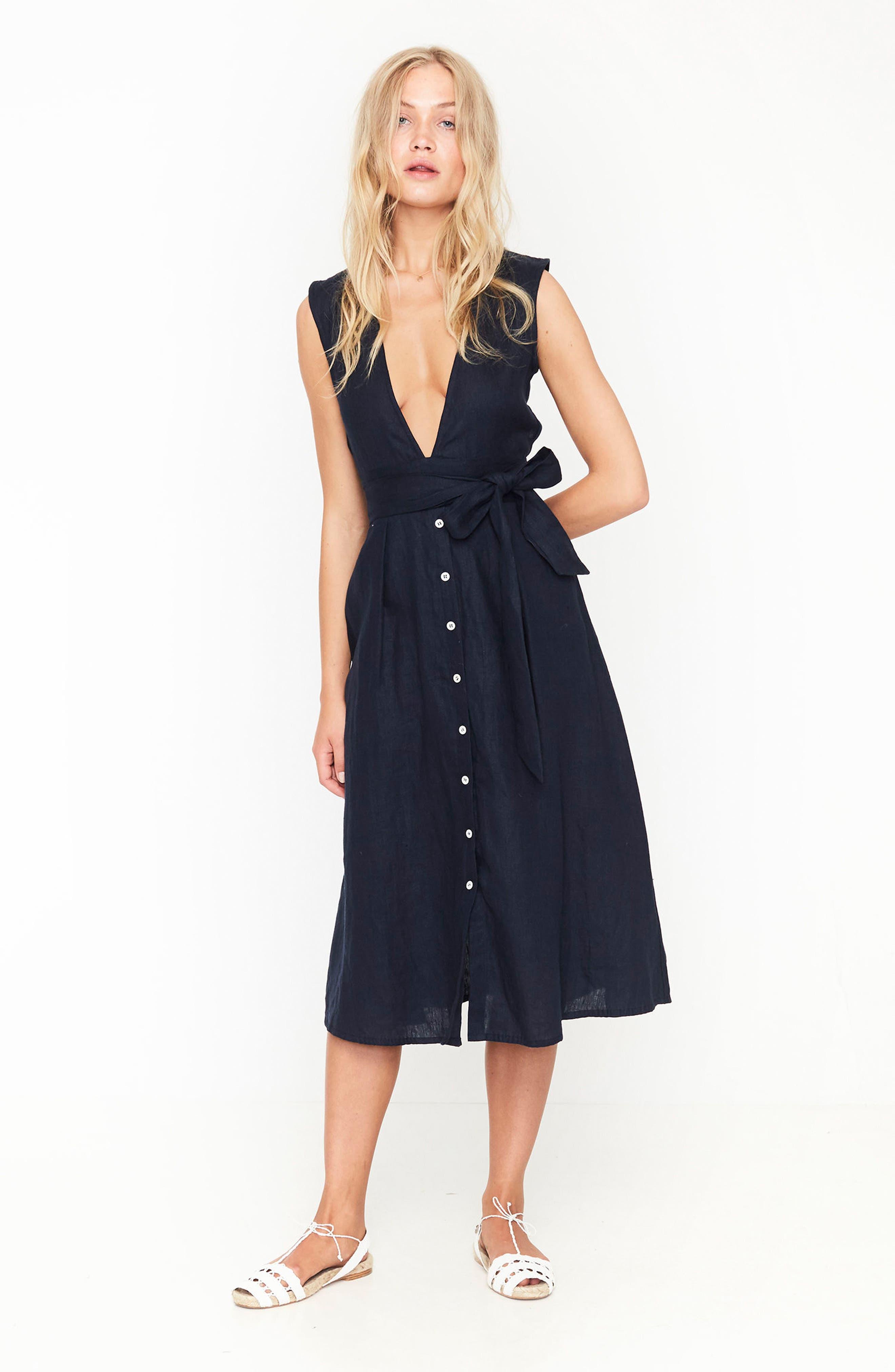 Le Roch Midi Dress,                             Alternate thumbnail 2, color,                             Plain Navy