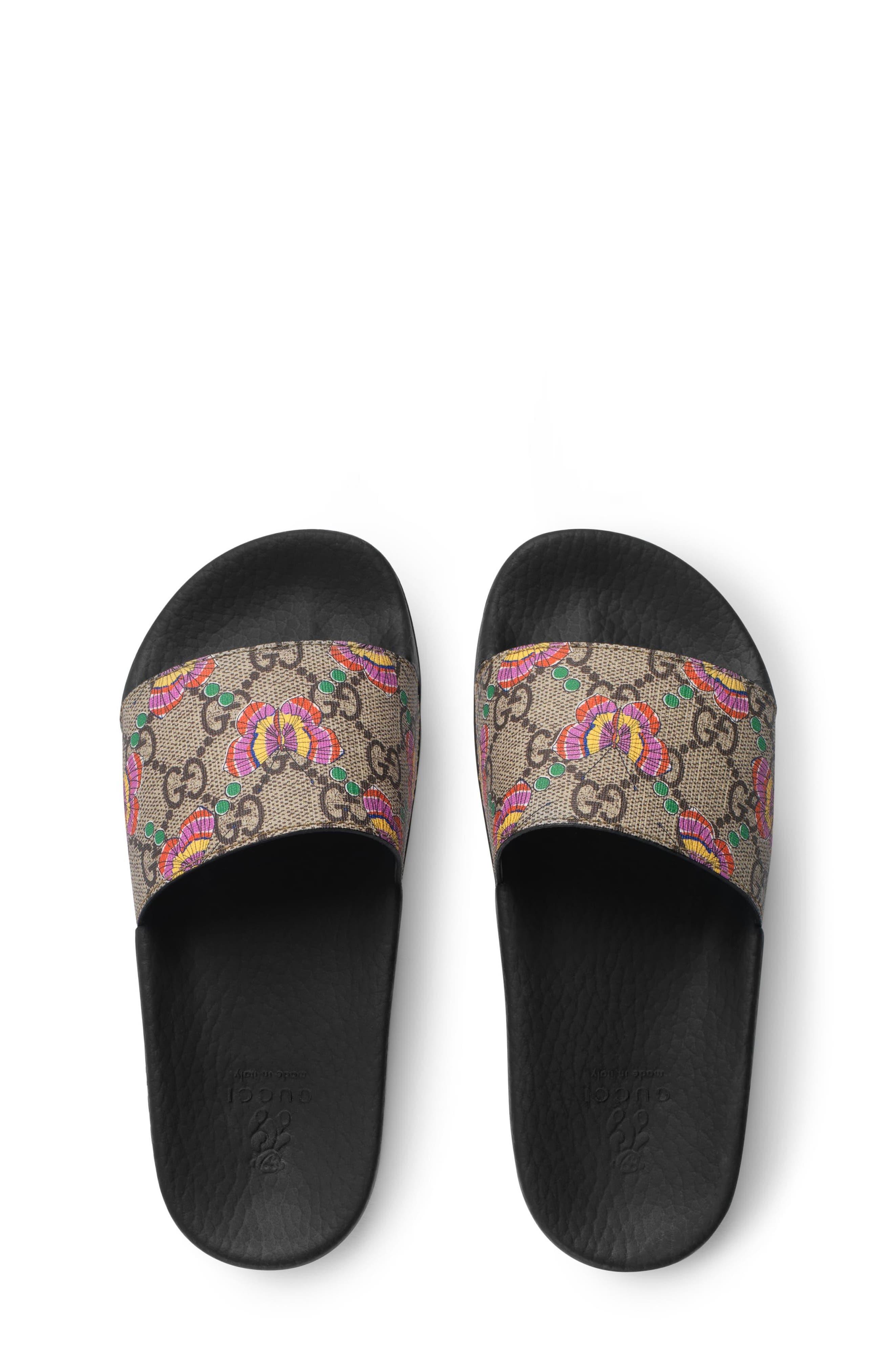 GG Supreme Butterfly Slide Sandal,                             Alternate thumbnail 3, color,                             Beige/ Pink Multi
