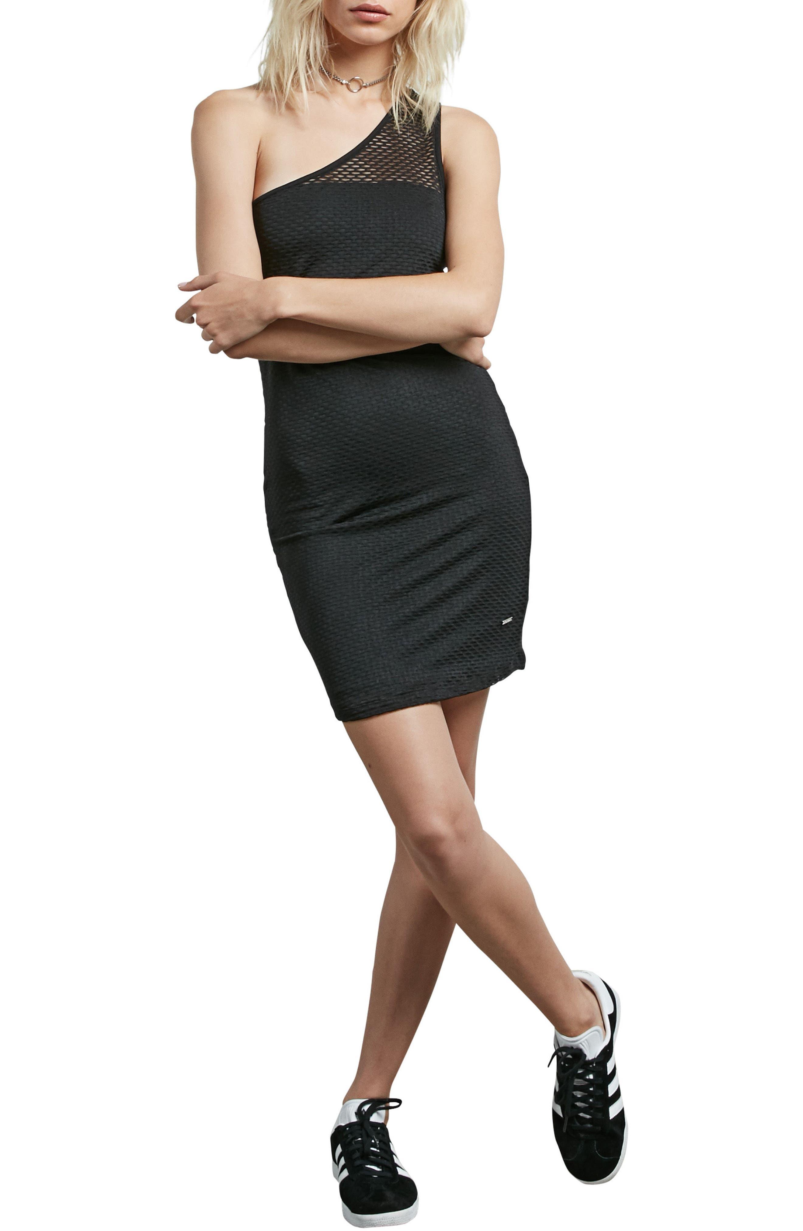 Rappin Mesh One-Shoulder Dress,                         Main,                         color, Black