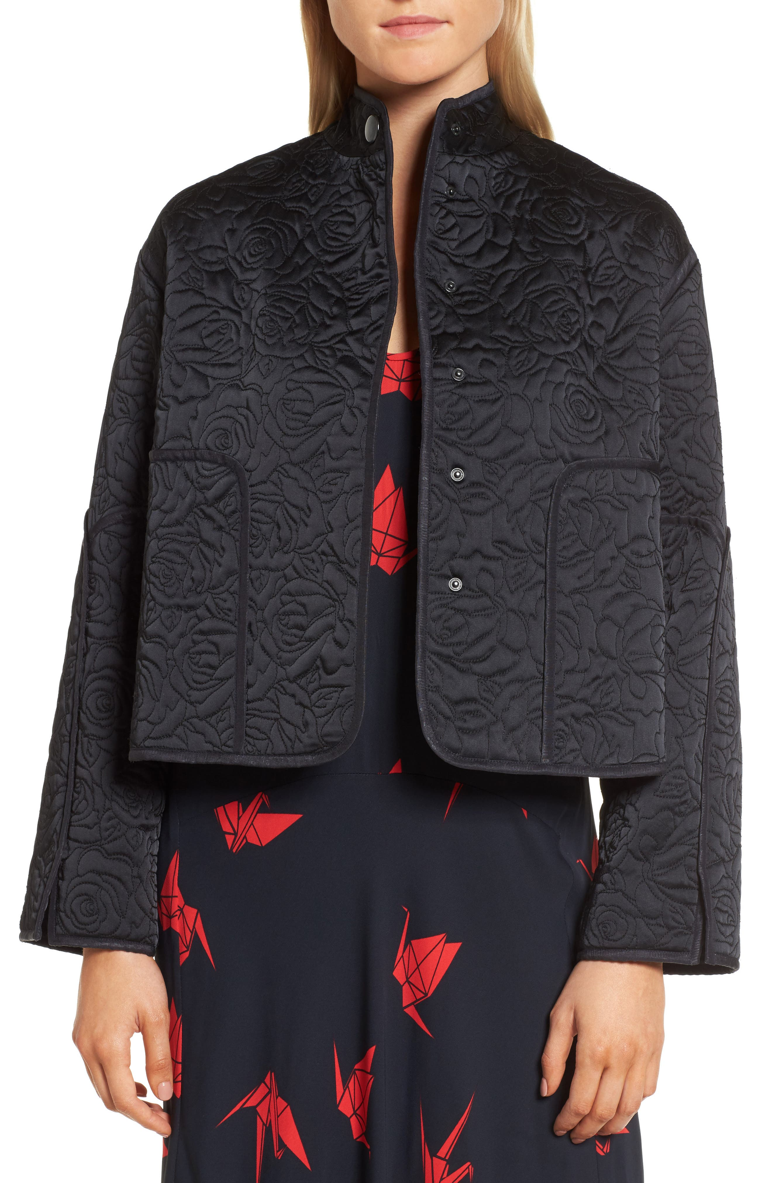 Floral Quilted Satin Jacket,                         Main,                         color, Navy Night
