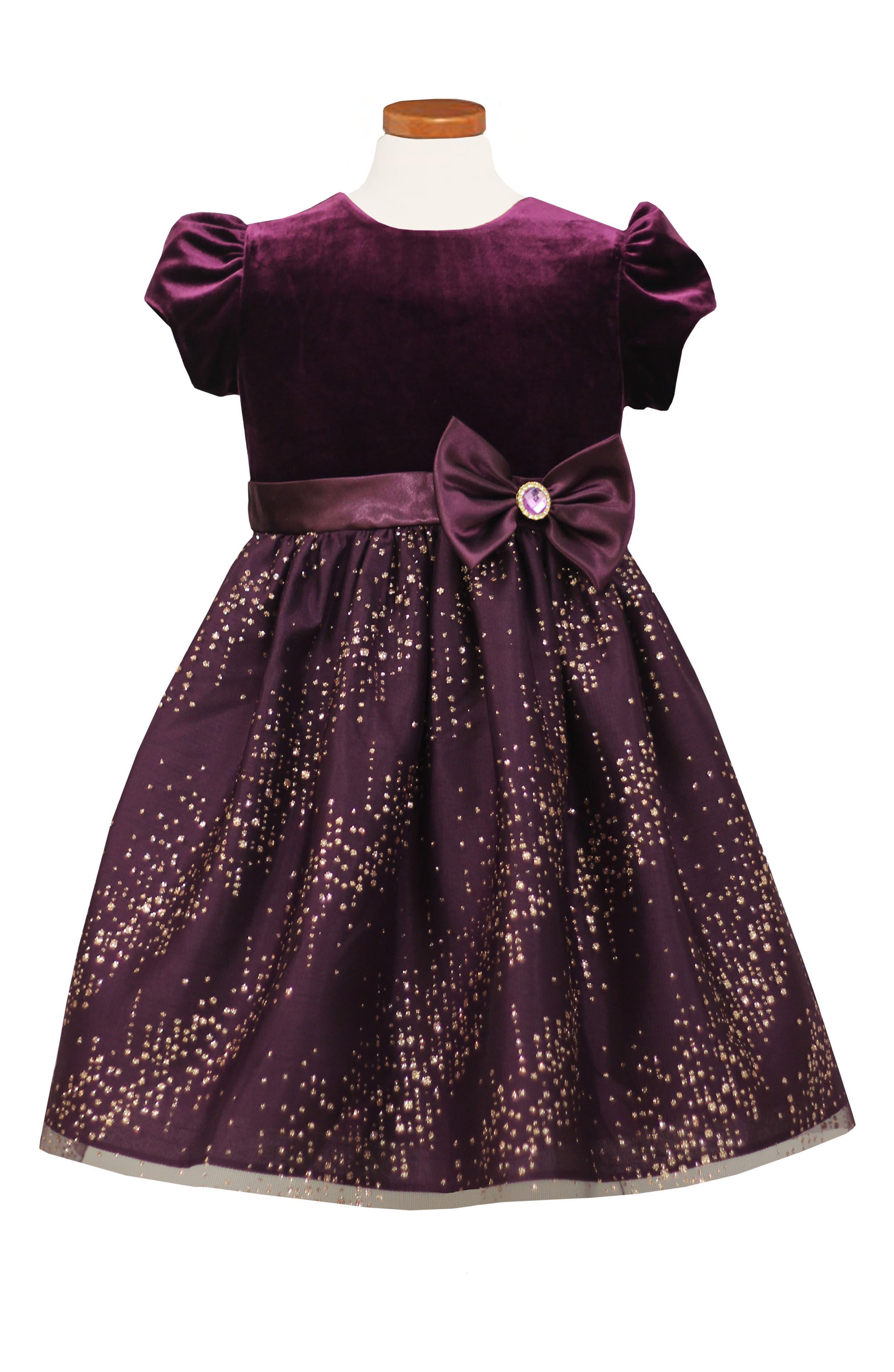 Velvet Bodice Fit & Flare Dress,                         Main,                         color, Purple