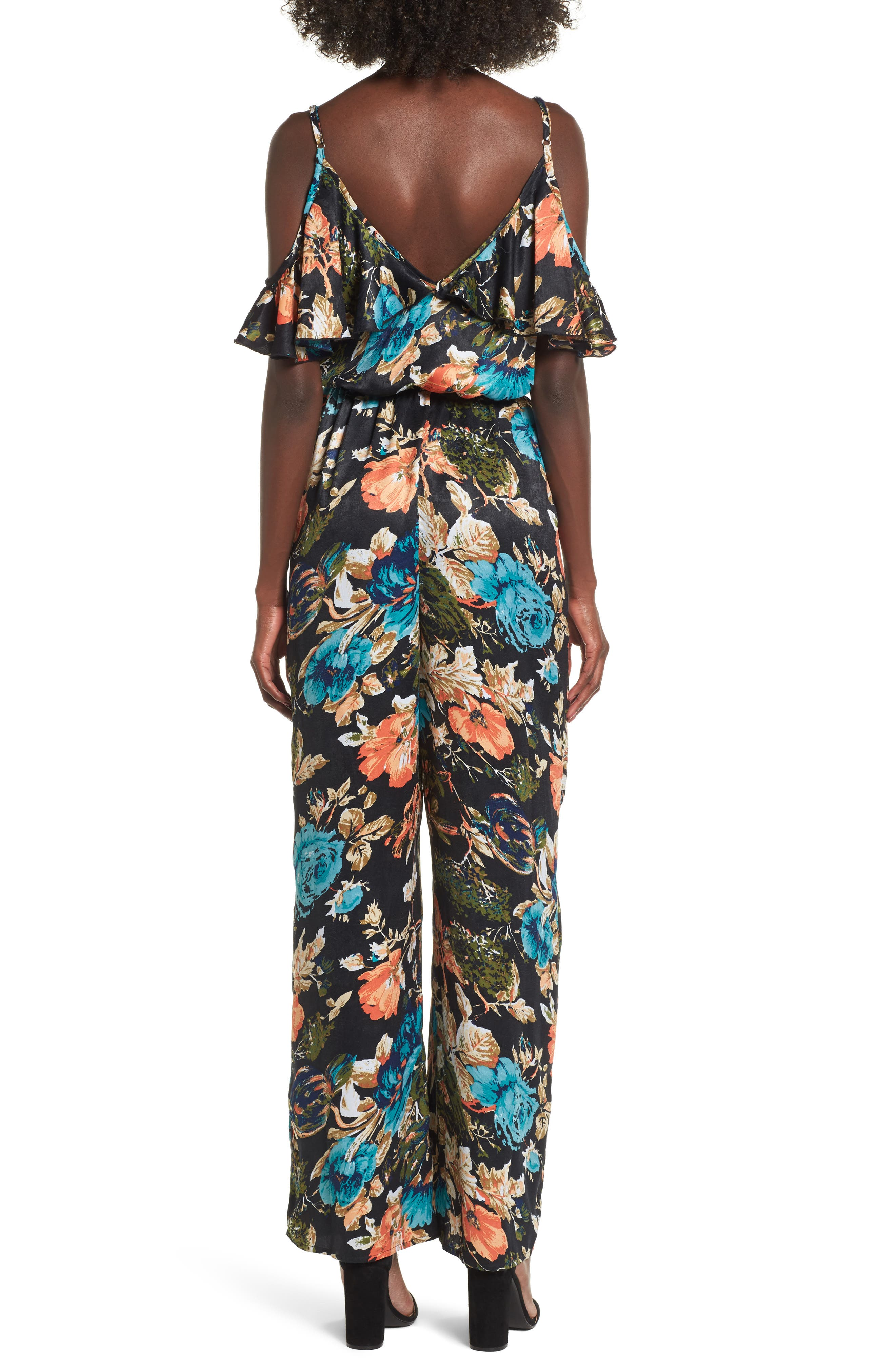 Peony Print Jumpsuit,                             Alternate thumbnail 2, color,                             Black/ Orange