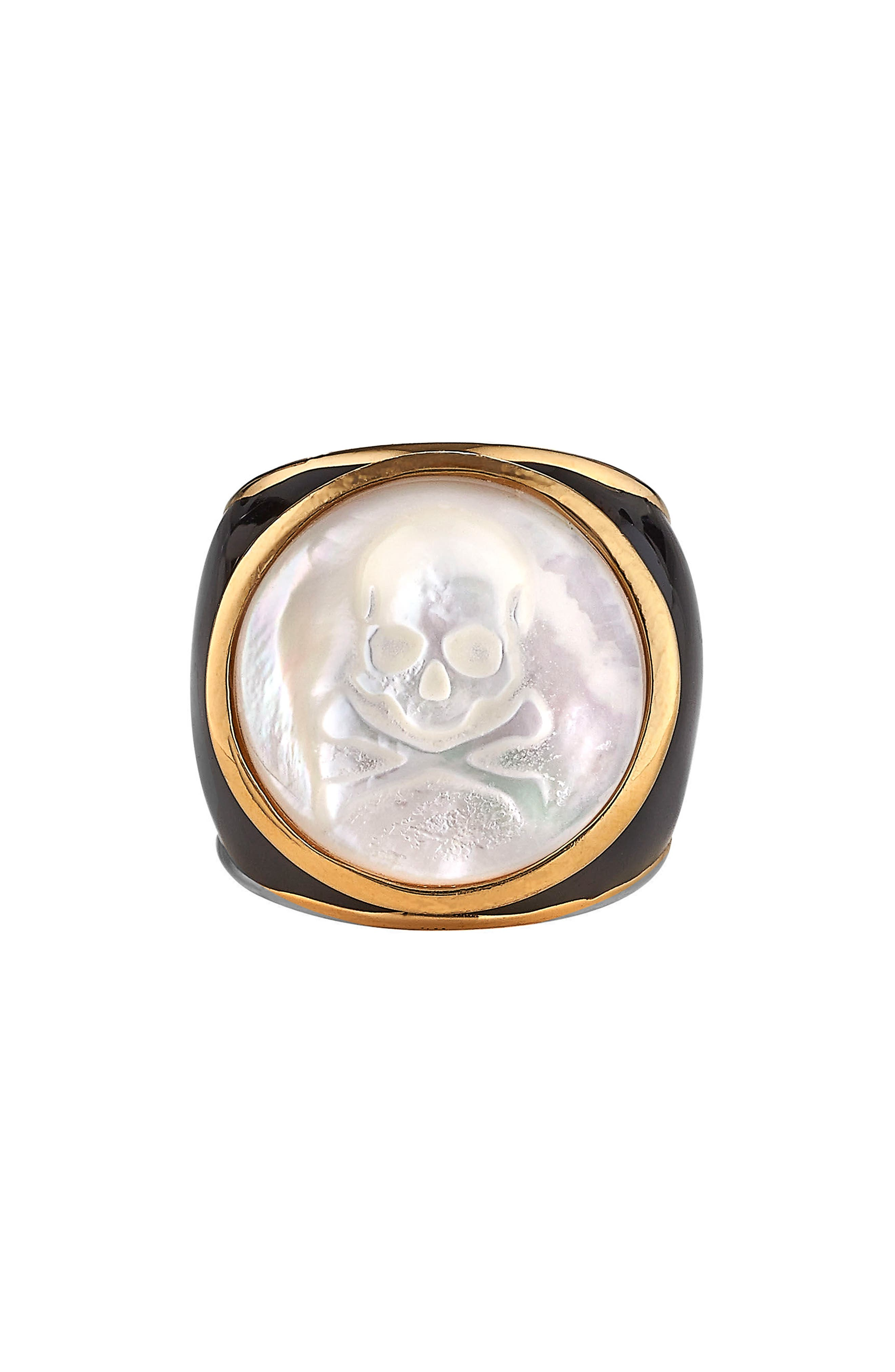 Mother-of-Pearl Skull Ring,                             Main thumbnail 1, color,                             Mother Of Pearl - 7