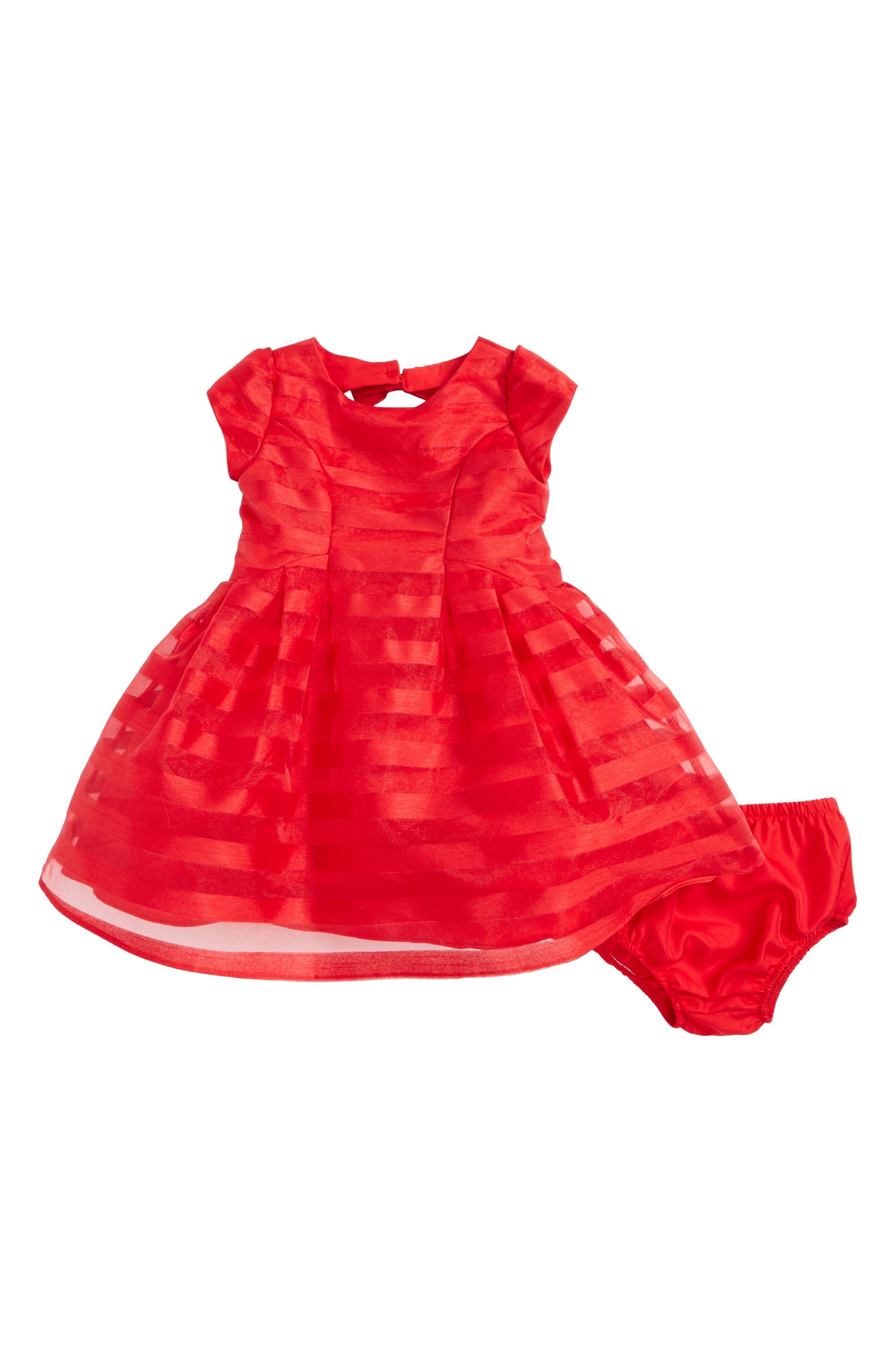 Short Sleeve Stripe Dress,                         Main,                         color, Red