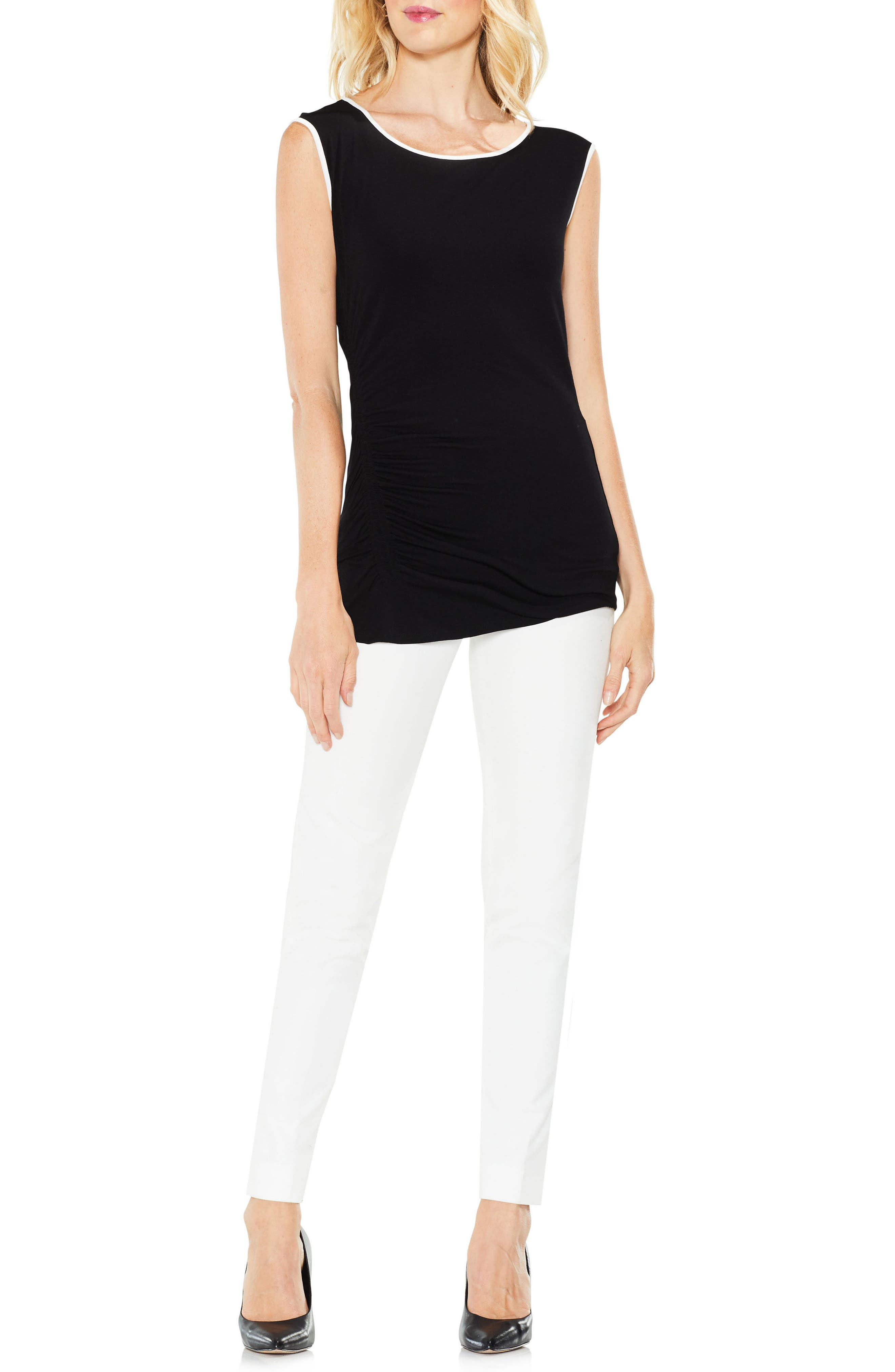 Side Ruched Top,                             Alternate thumbnail 3, color,                             Rich Black