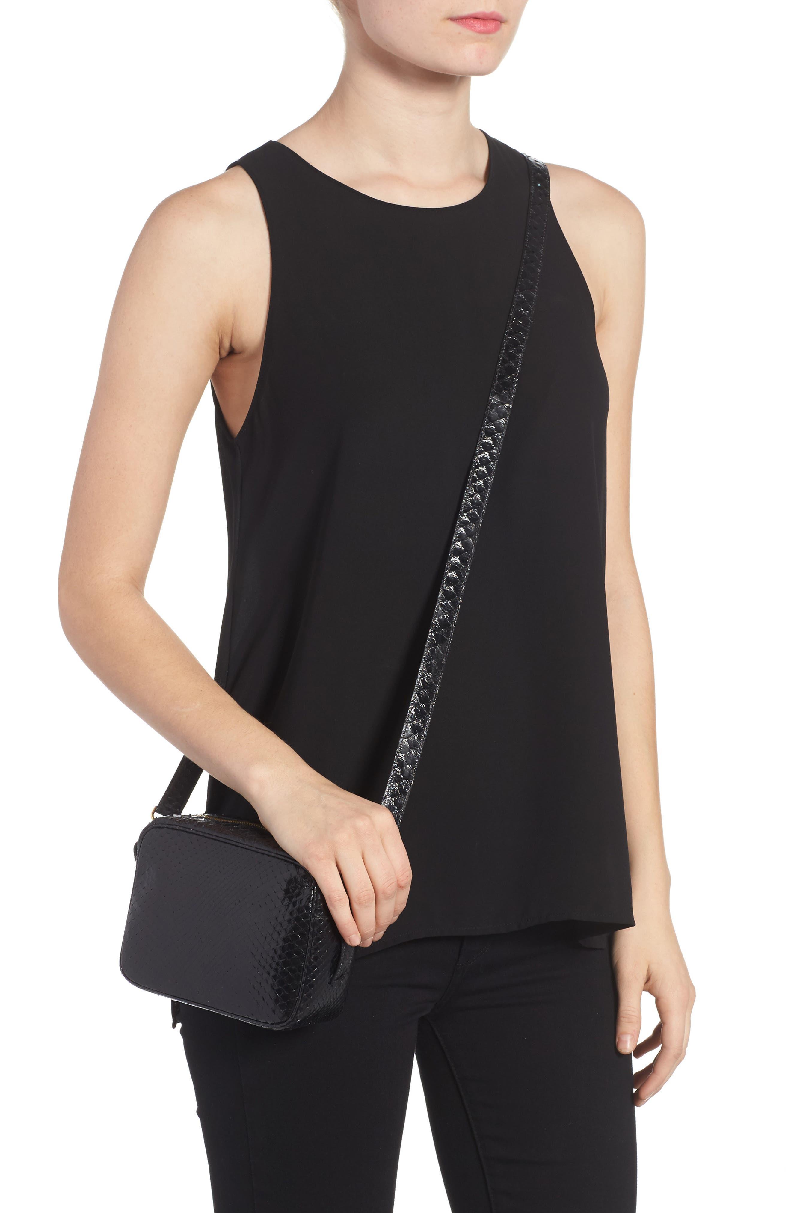 Genuine Python Shoulder Bag,                             Alternate thumbnail 2, color,                             Black