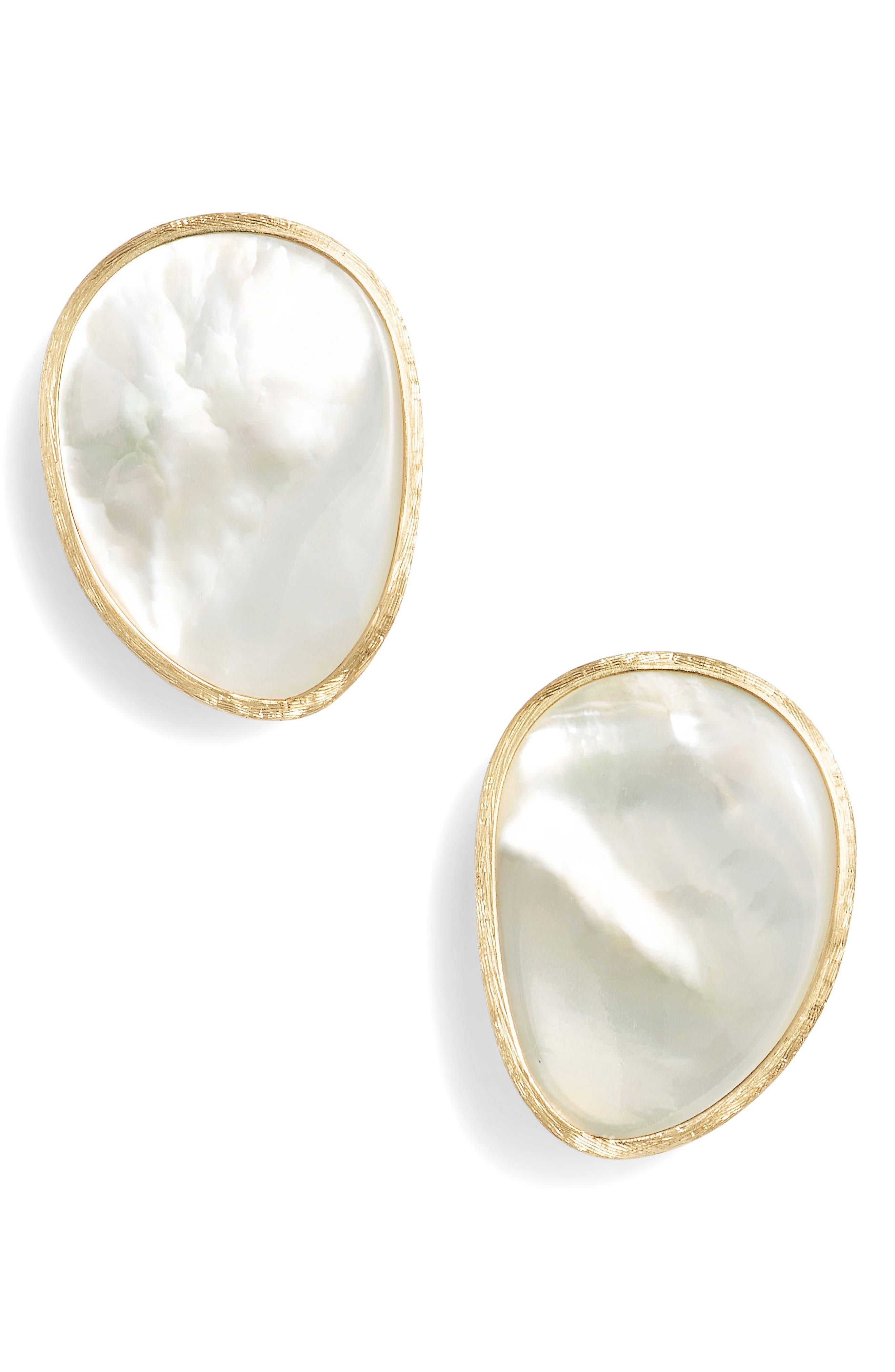 MARCO BICEGO 18K Yellow Gold Lunaria Mother Of Pearl Stud Earrings in White Mother Of Pearl