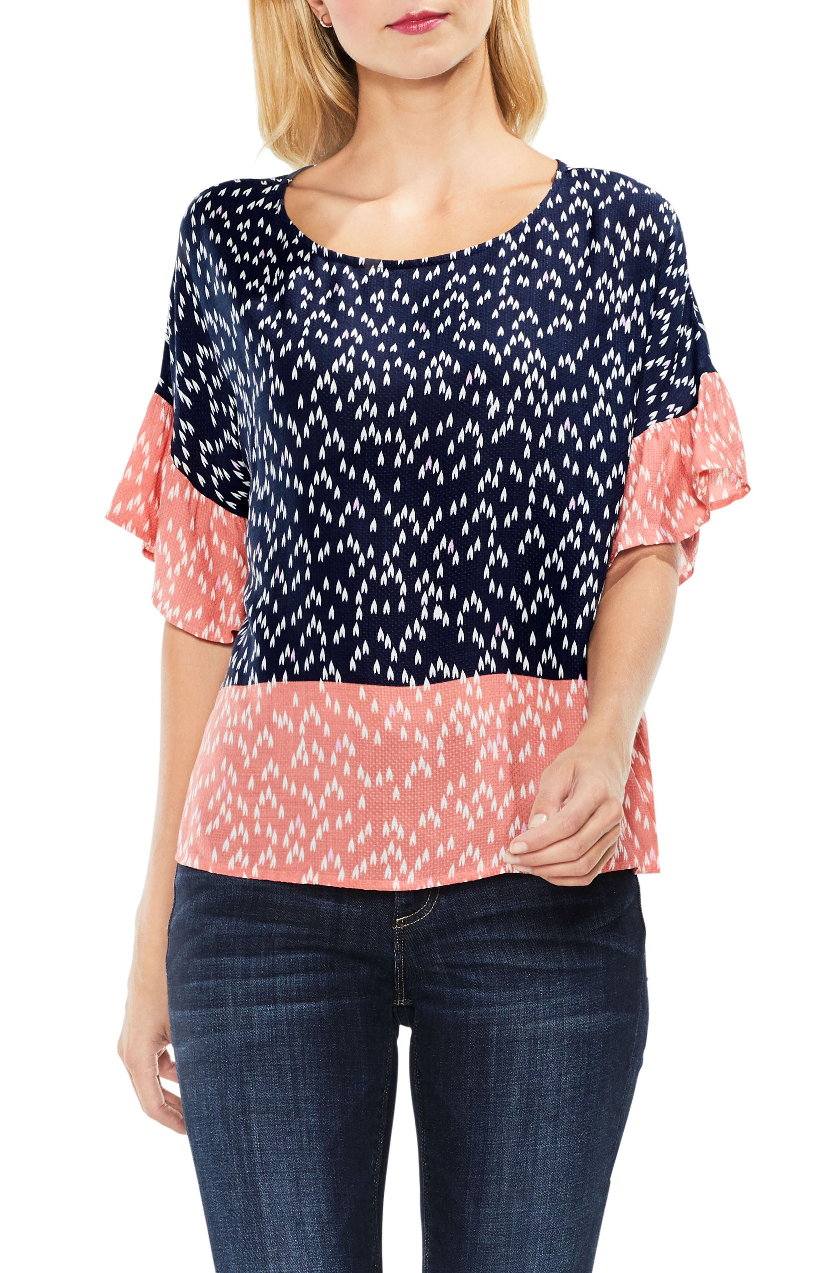 Two by Vince Camuto Ruffle Sleeve Shirt,                             Main thumbnail 1, color,                             Blue Night