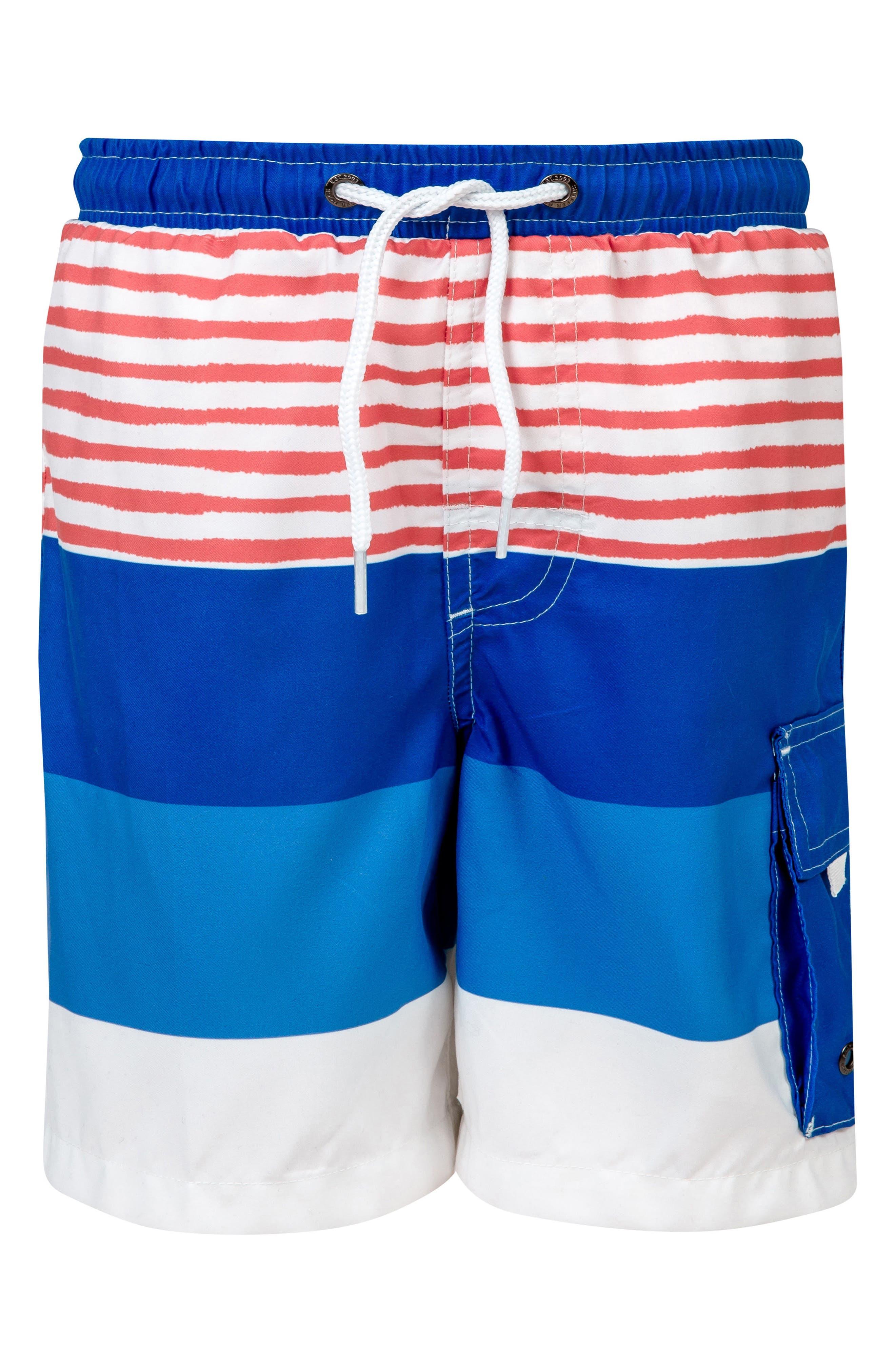 Sail Stripe Board Shorts,                             Main thumbnail 1, color,                             Royal/ Red/ White