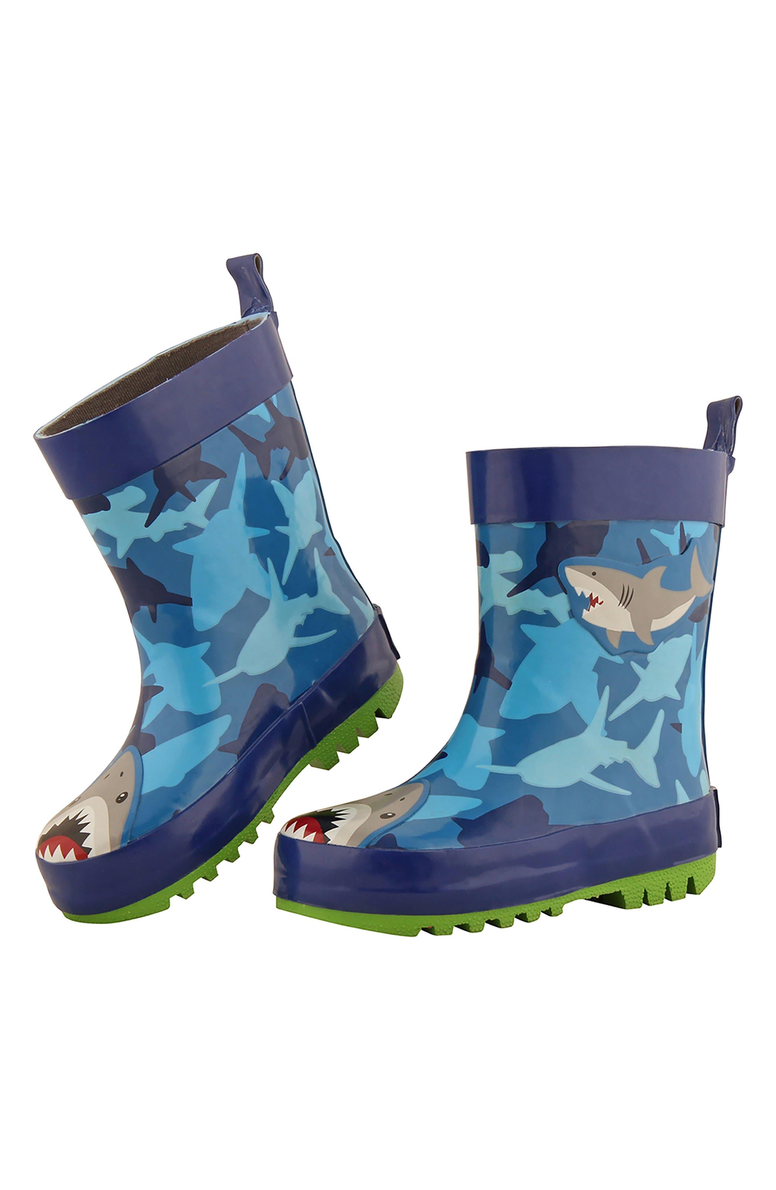 Shark Rain Boots & Umbrella Set,                             Alternate thumbnail 2, color,                             Shark