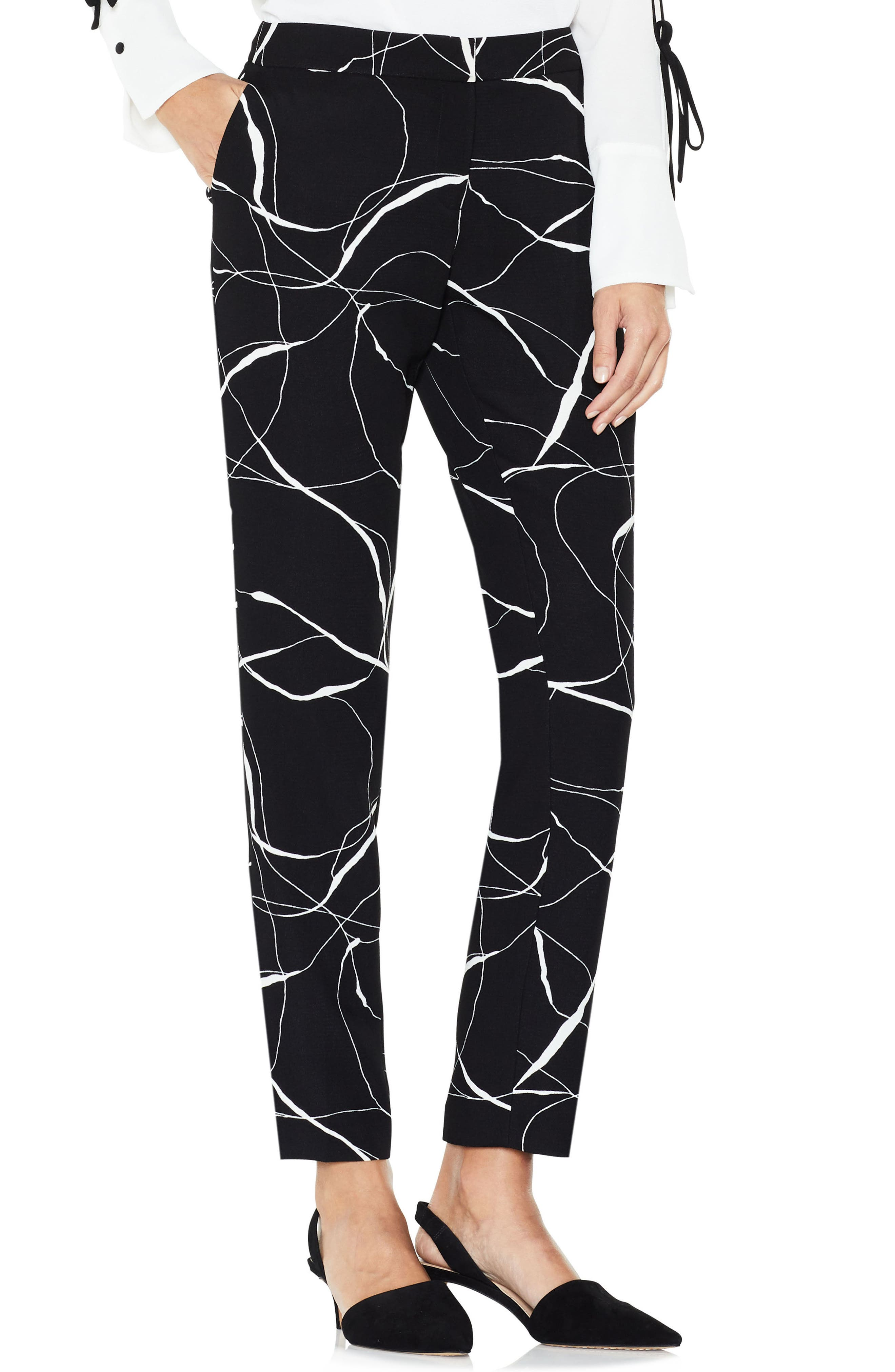 Ink Swirl Print Ankle Pants,                         Main,                         color, Rich Black
