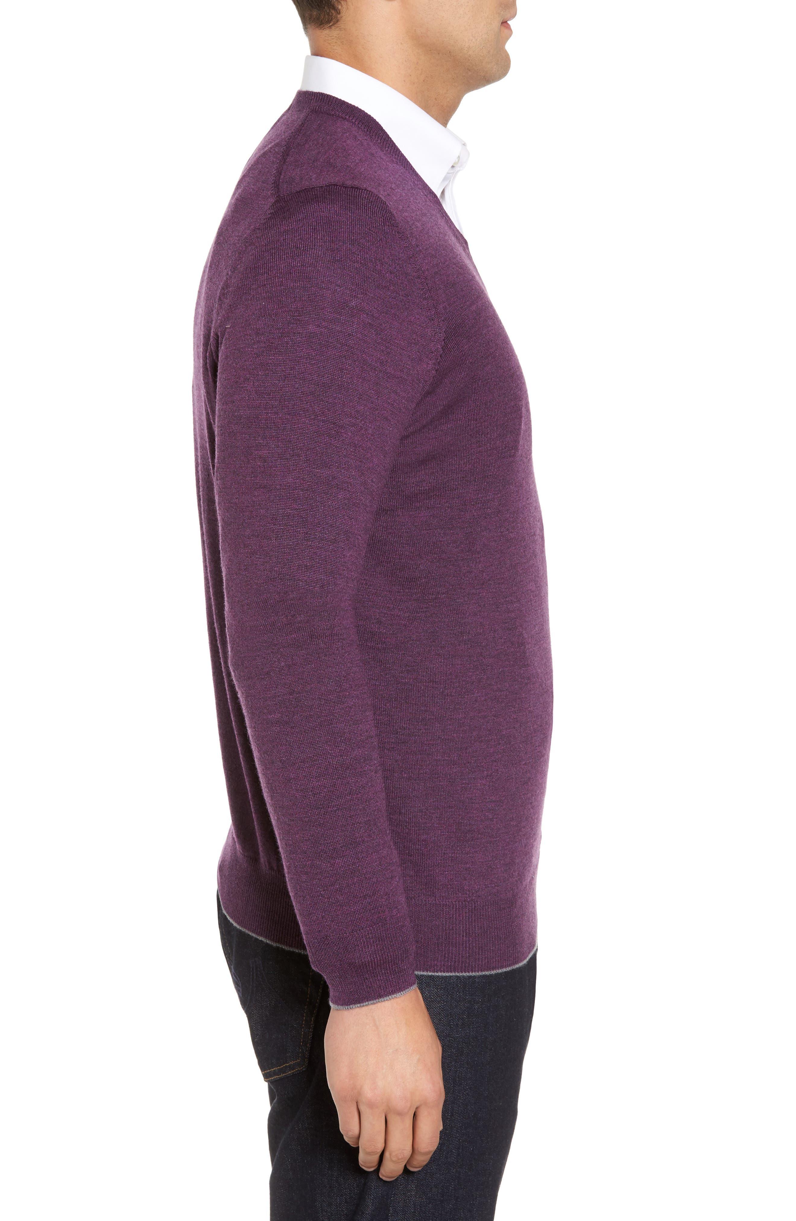 Merino Wool Blend V-Neck Sweater,                             Alternate thumbnail 3, color,                             Purple