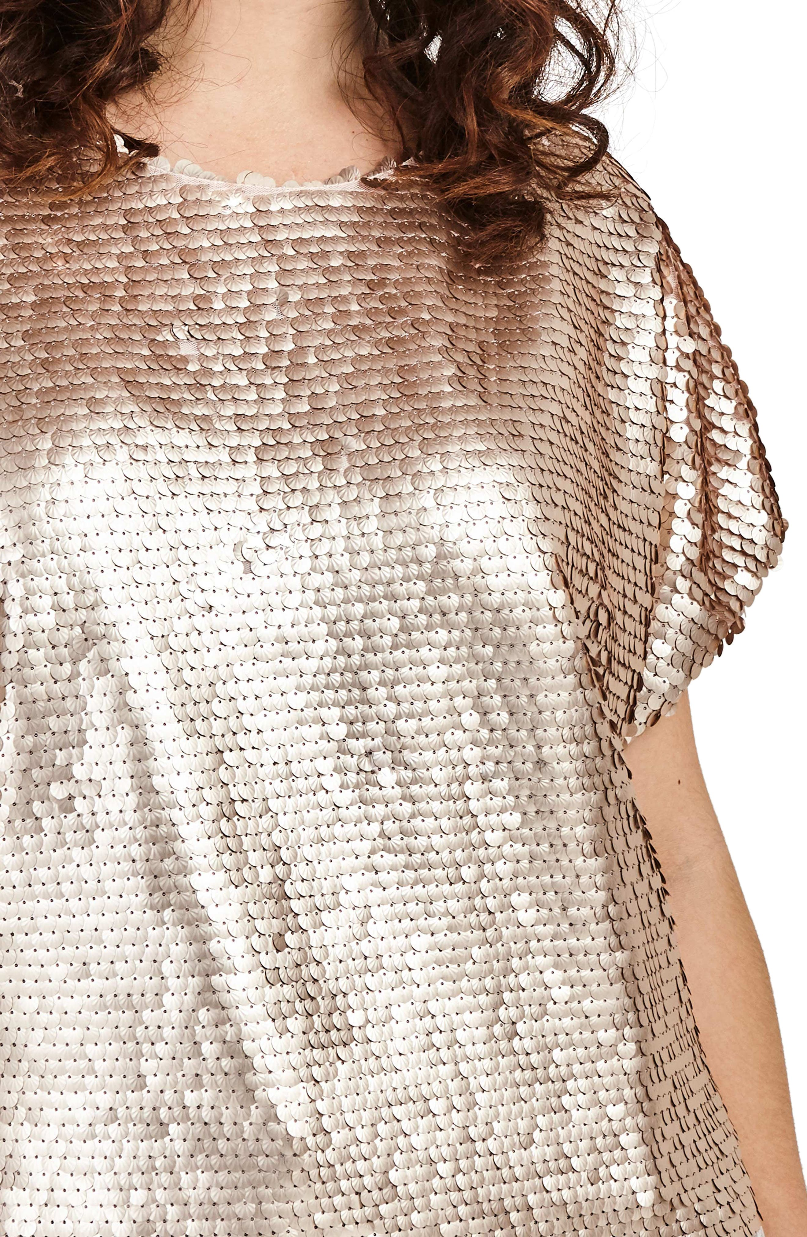 Nude Sequin Boxy Top,                             Alternate thumbnail 4, color,                             Nude