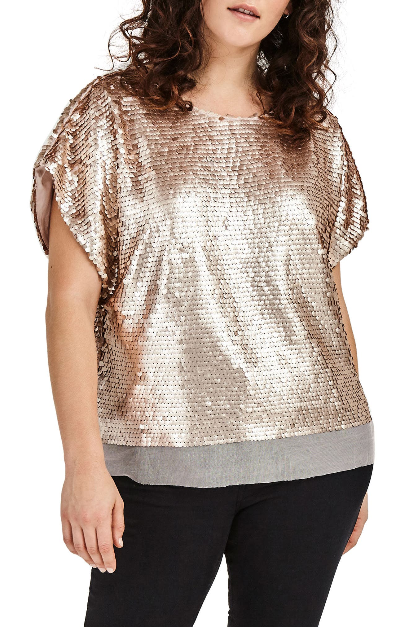 Nude Sequin Boxy Top,                         Main,                         color, Nude