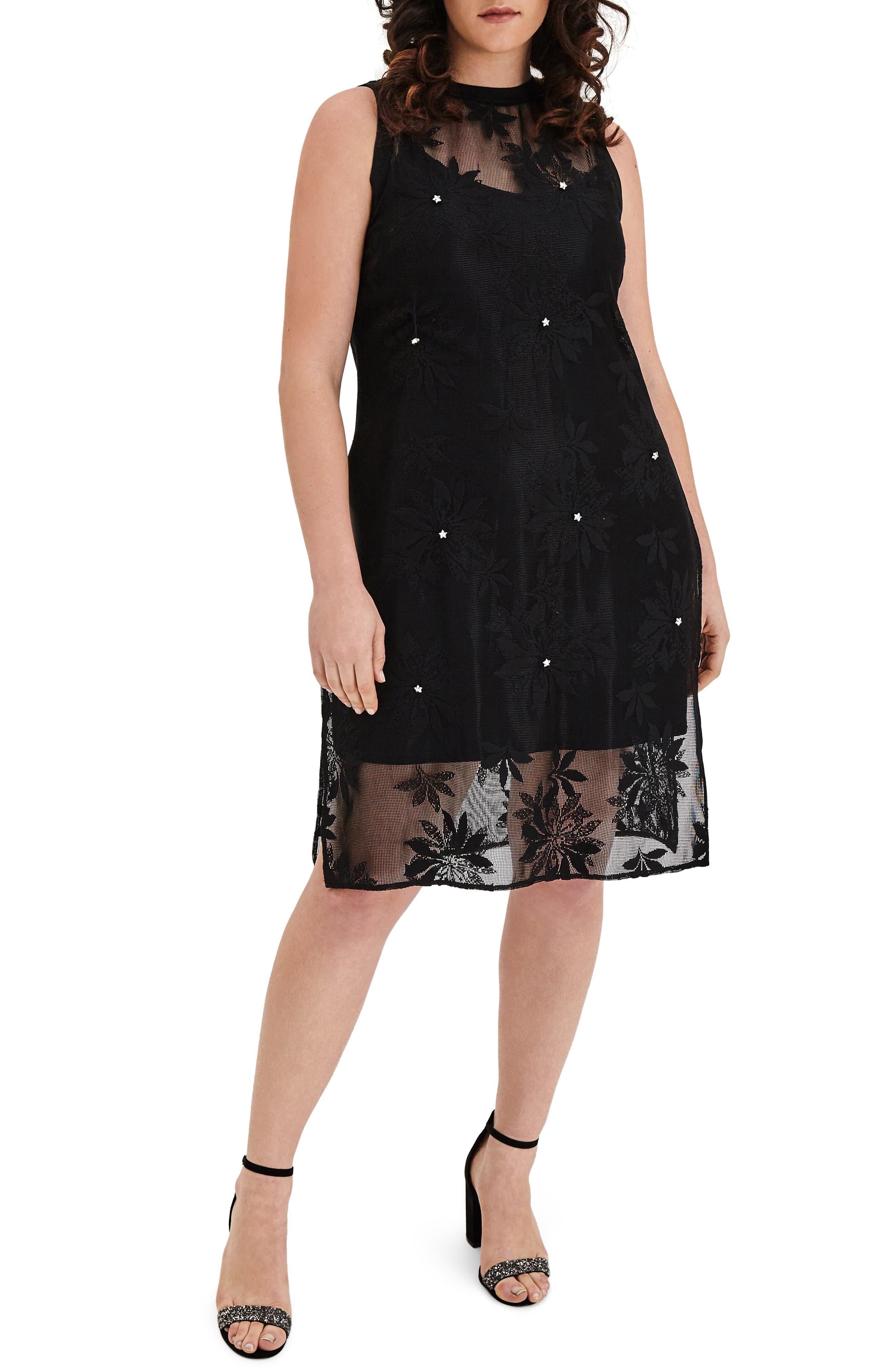 Floral Lace Tunic Dress,                         Main,                         color, Black