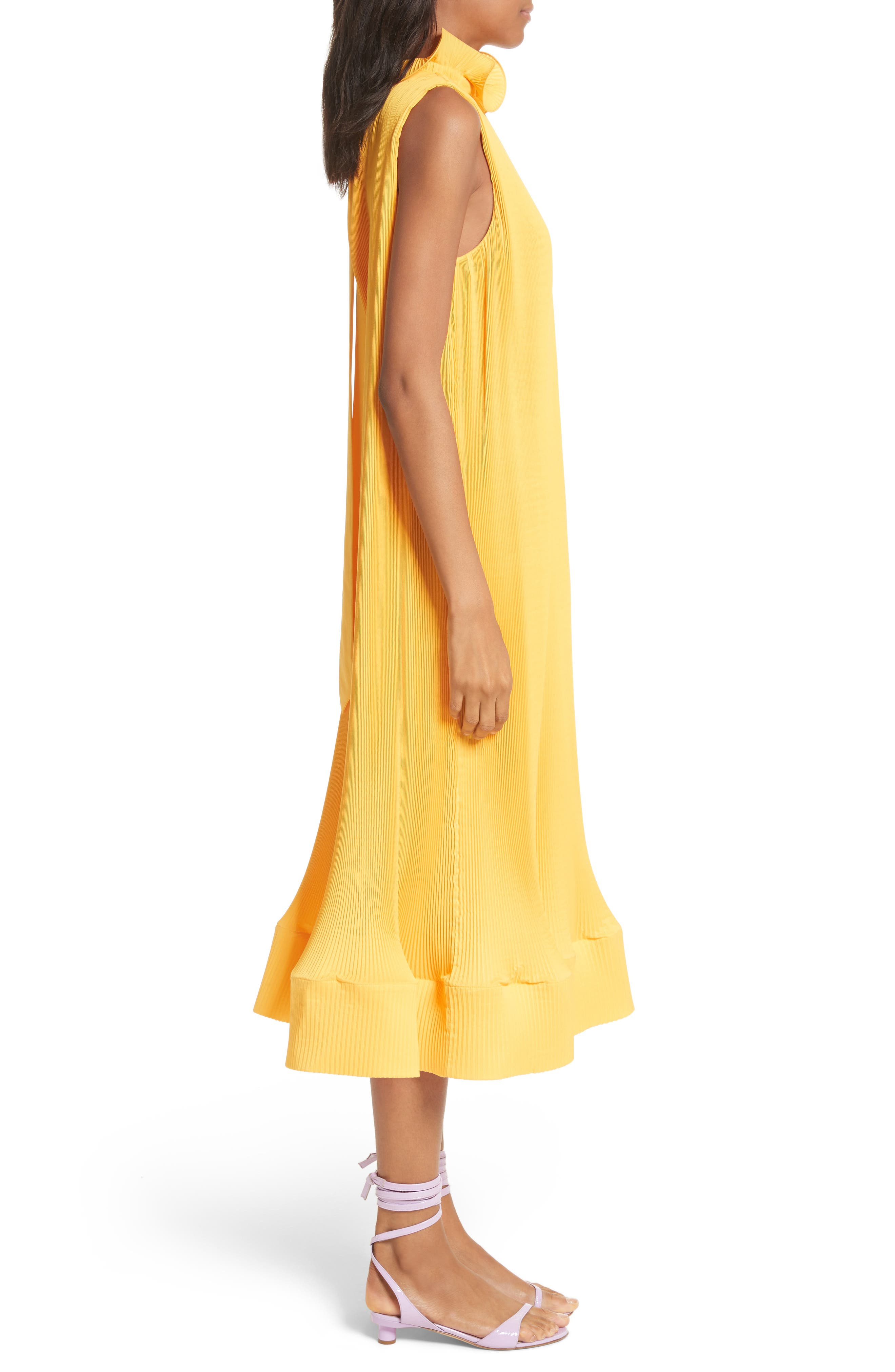 Asymmetrical Belted Dress,                             Alternate thumbnail 3, color,                             Sunray