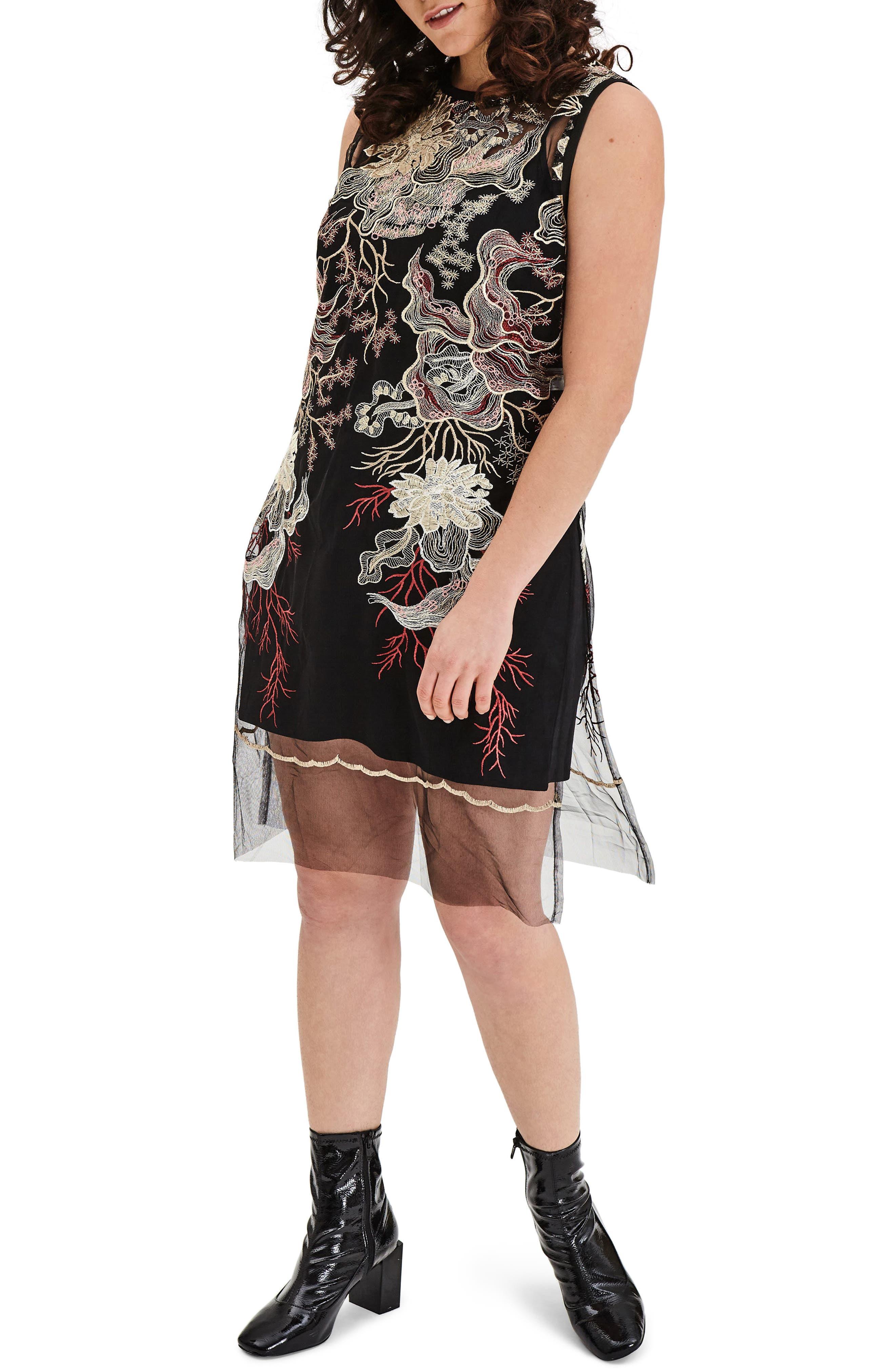 ELVI Embroidered Mesh Tunic Dress (Plus Size)