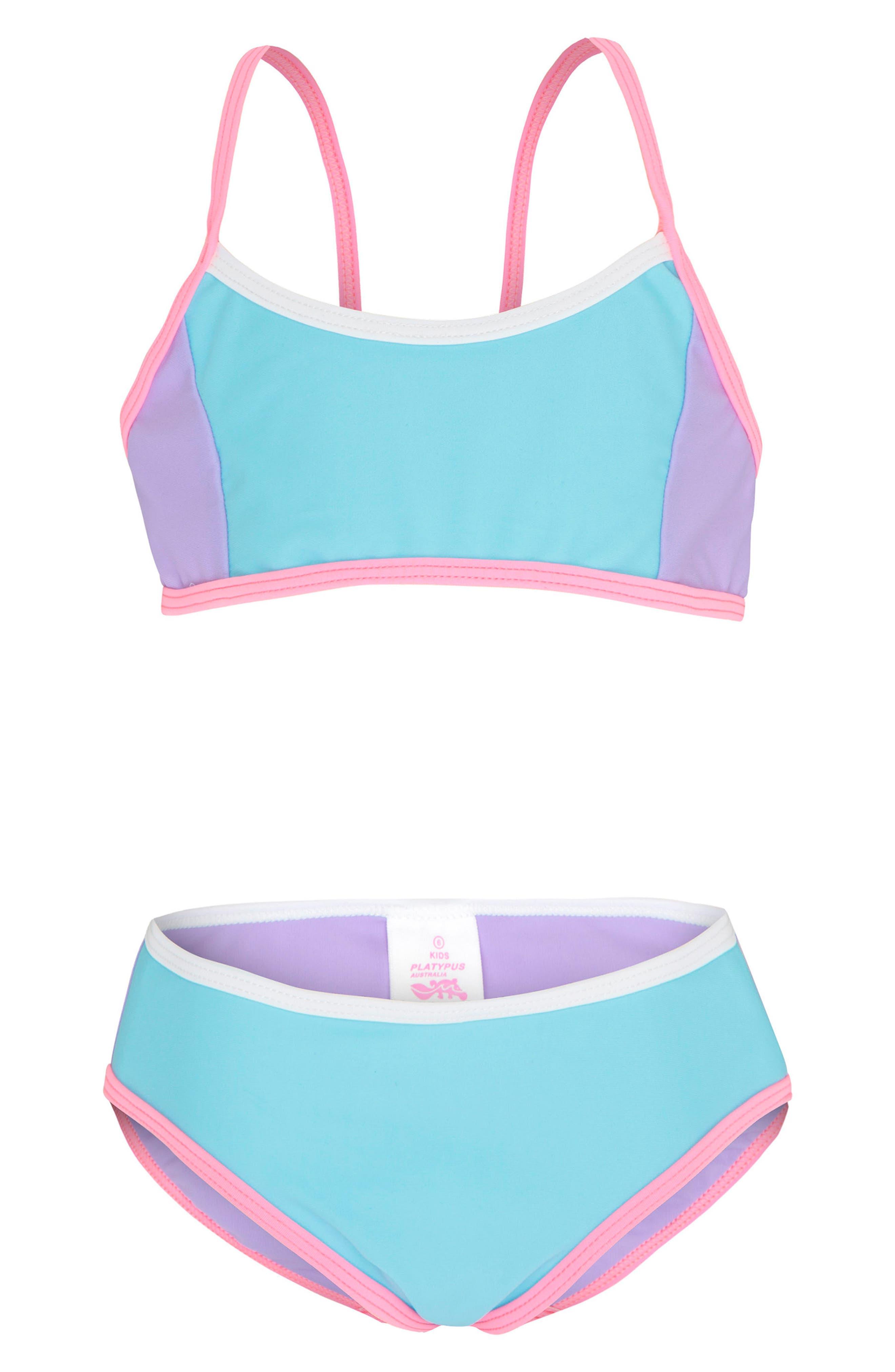 Colorblock Two-Piece Swimsuit,                         Main,                         color, Sherbert Colour Blocked