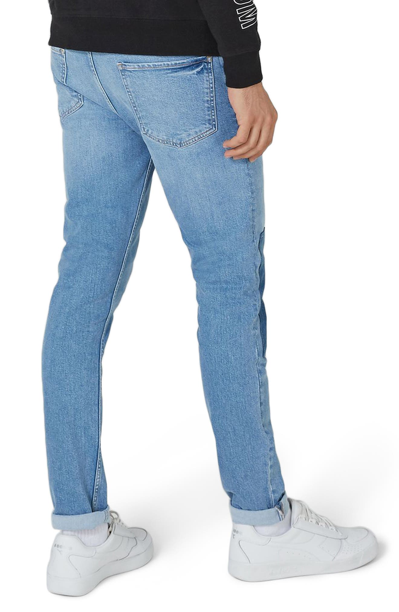 Patch Stretch Skinny Jeans,                             Alternate thumbnail 2, color,                             Blue