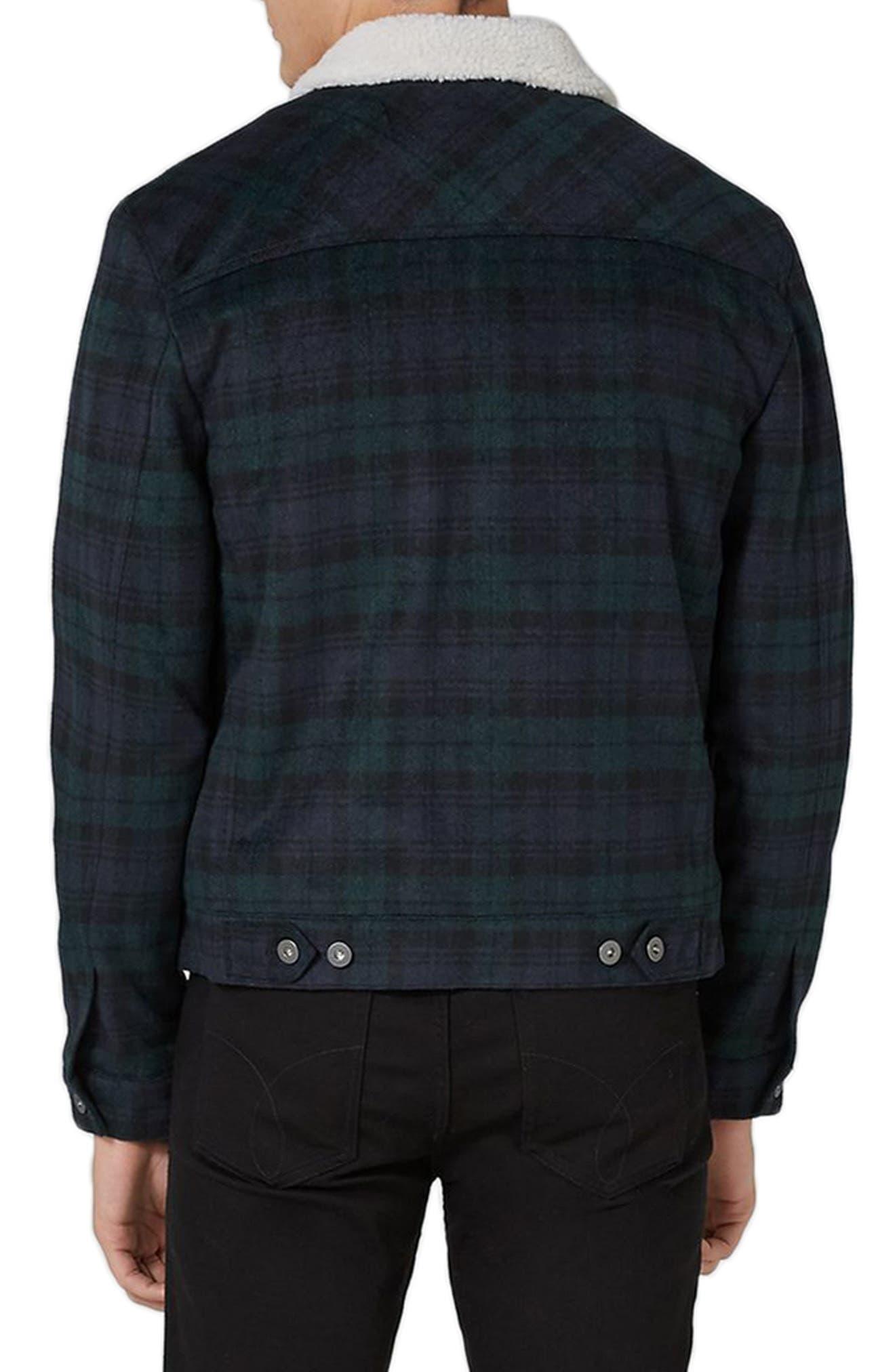 Borg Collar Black Watch Plaid Western Jacket,                             Alternate thumbnail 2, color,                             Navy Multi