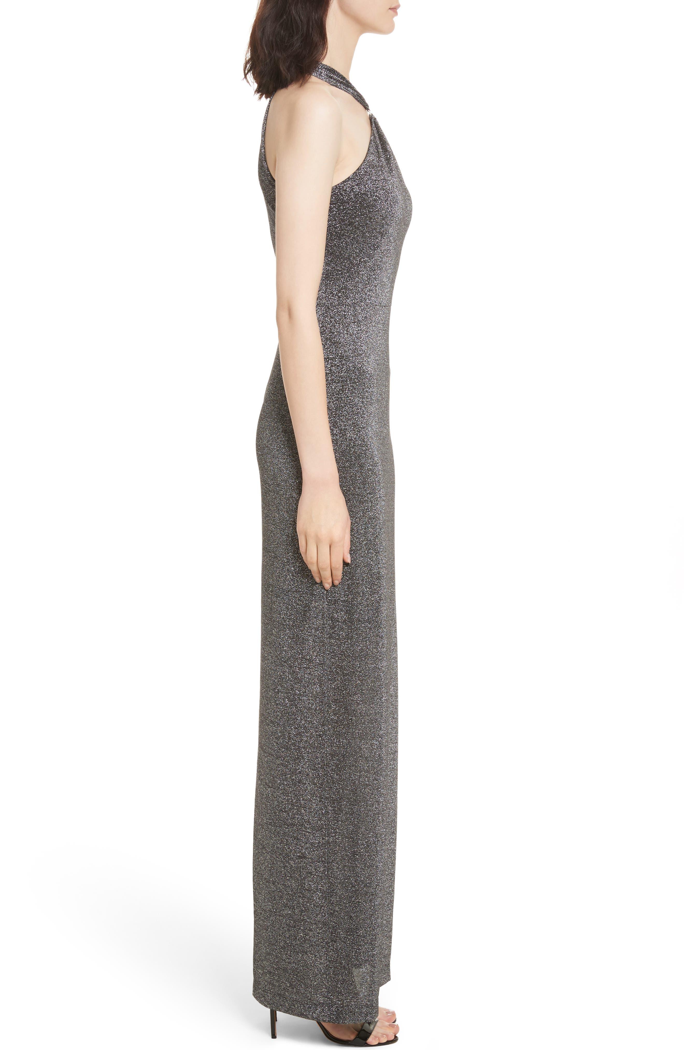 Metallic Knit Maxi Dress,                             Alternate thumbnail 3, color,                             Black