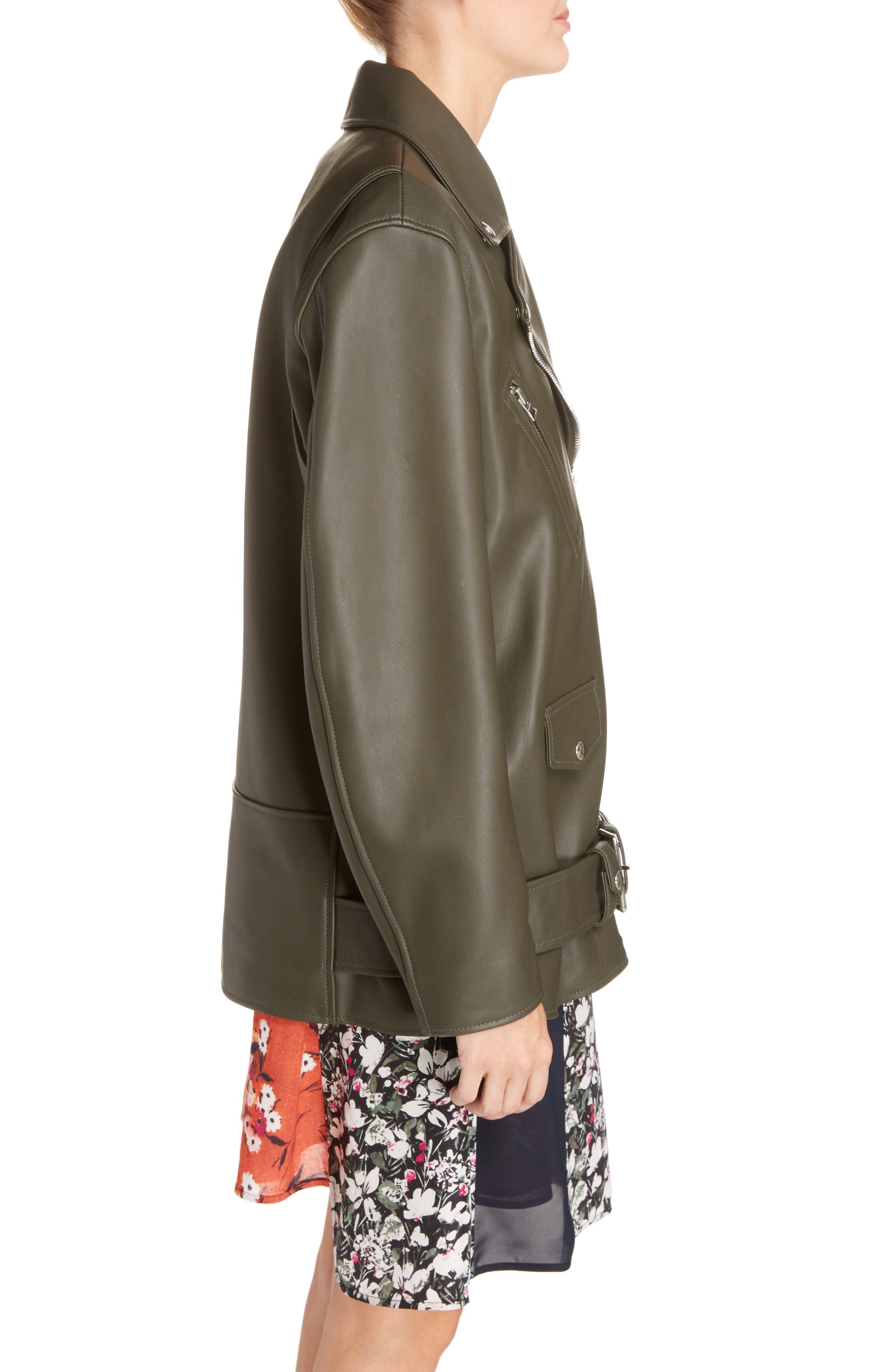 Myrtle Leather Jacket,                             Alternate thumbnail 5, color,                             Dark Khaki