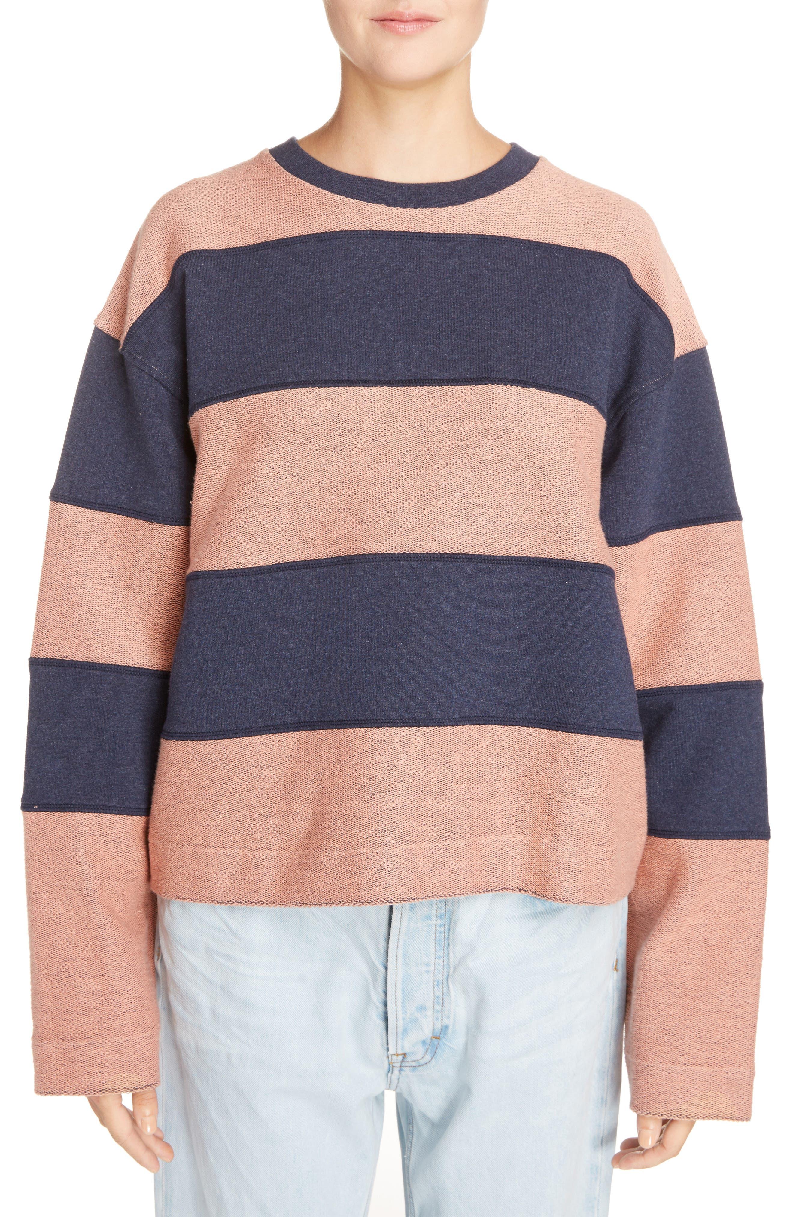Diana Stripe Sweatshirt,                             Main thumbnail 1, color,                             Navy Melange/ Pink